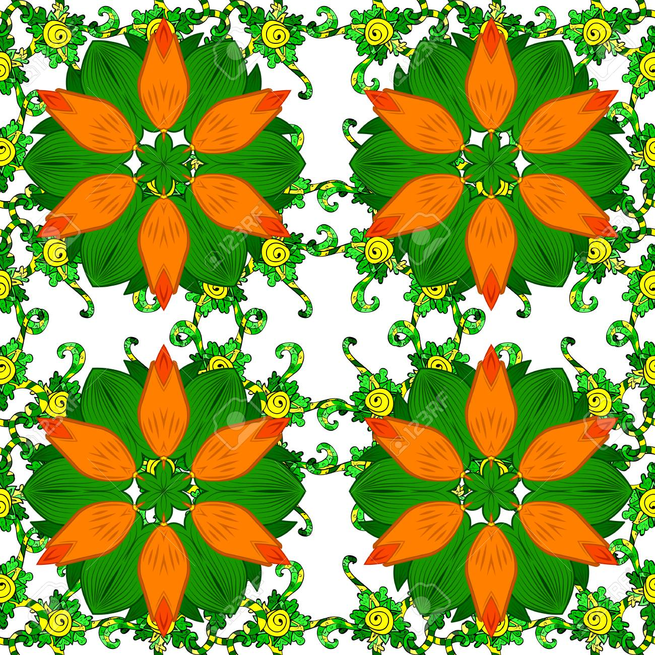 Seamless pattern with spring flowers cover background orange seamless pattern with spring flowers cover background orange and green colors vector mightylinksfo