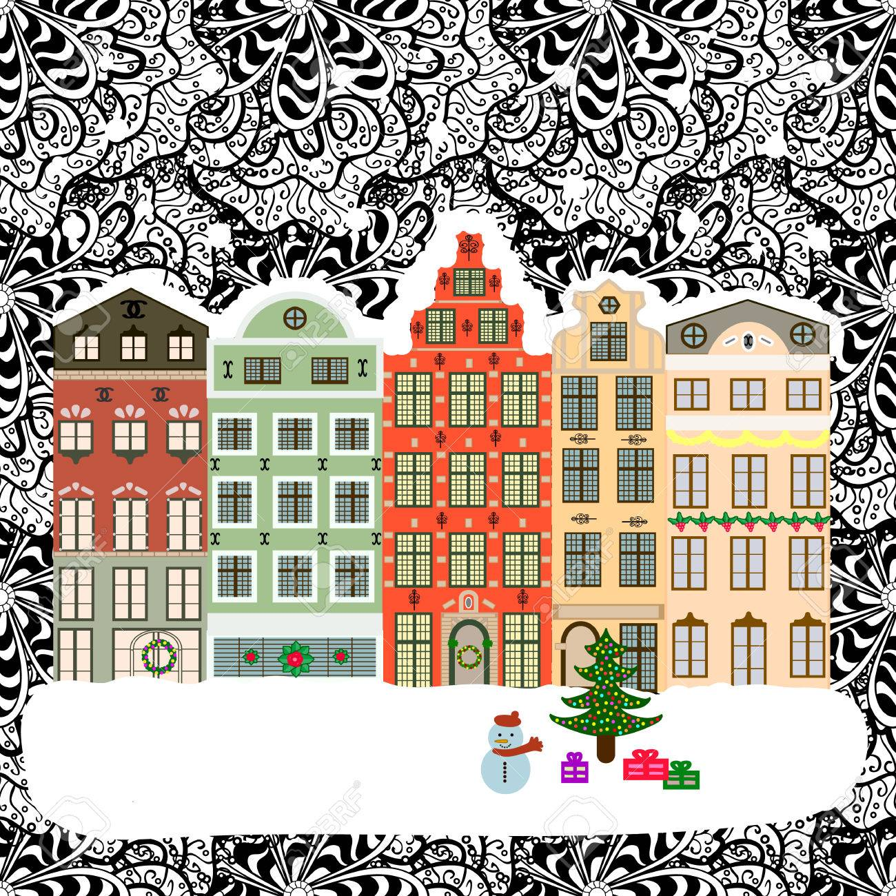 Christmas winter city. Vector xmas card with a decorated snowy old town at Christmas eve. - 60610335