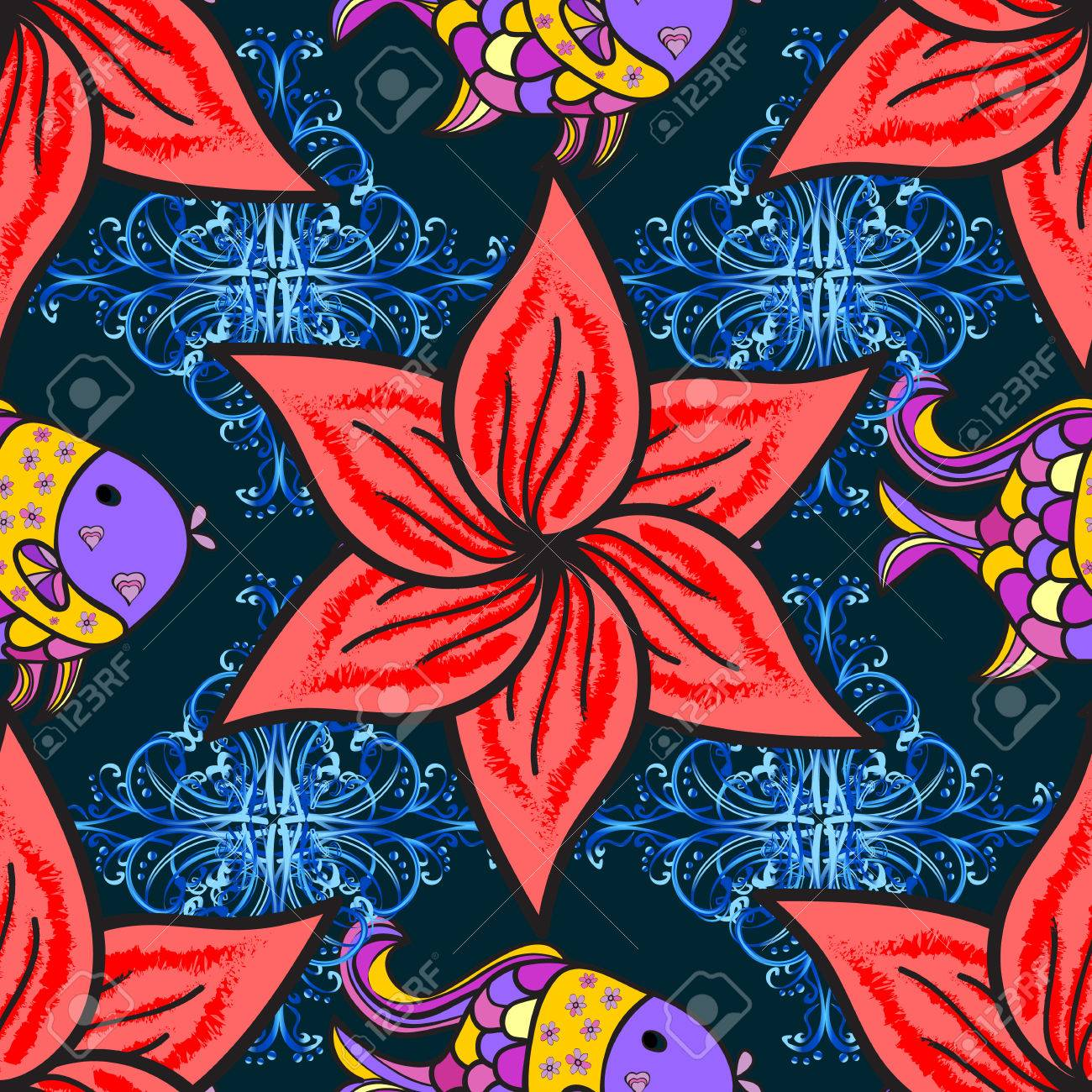 Seamless Vintage Pattern On Dark Blue Background With Red And ...