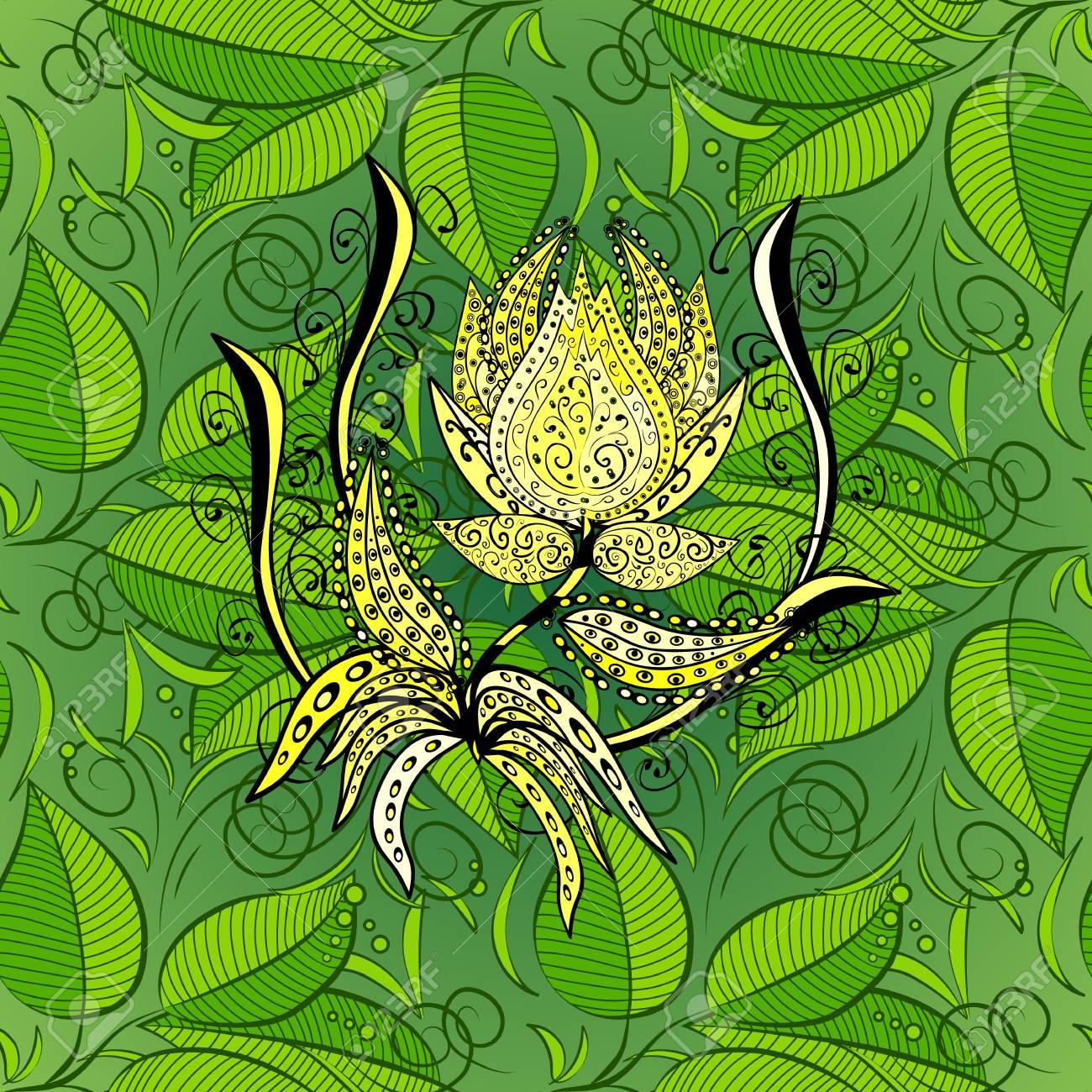 Sfondo verde con fiori