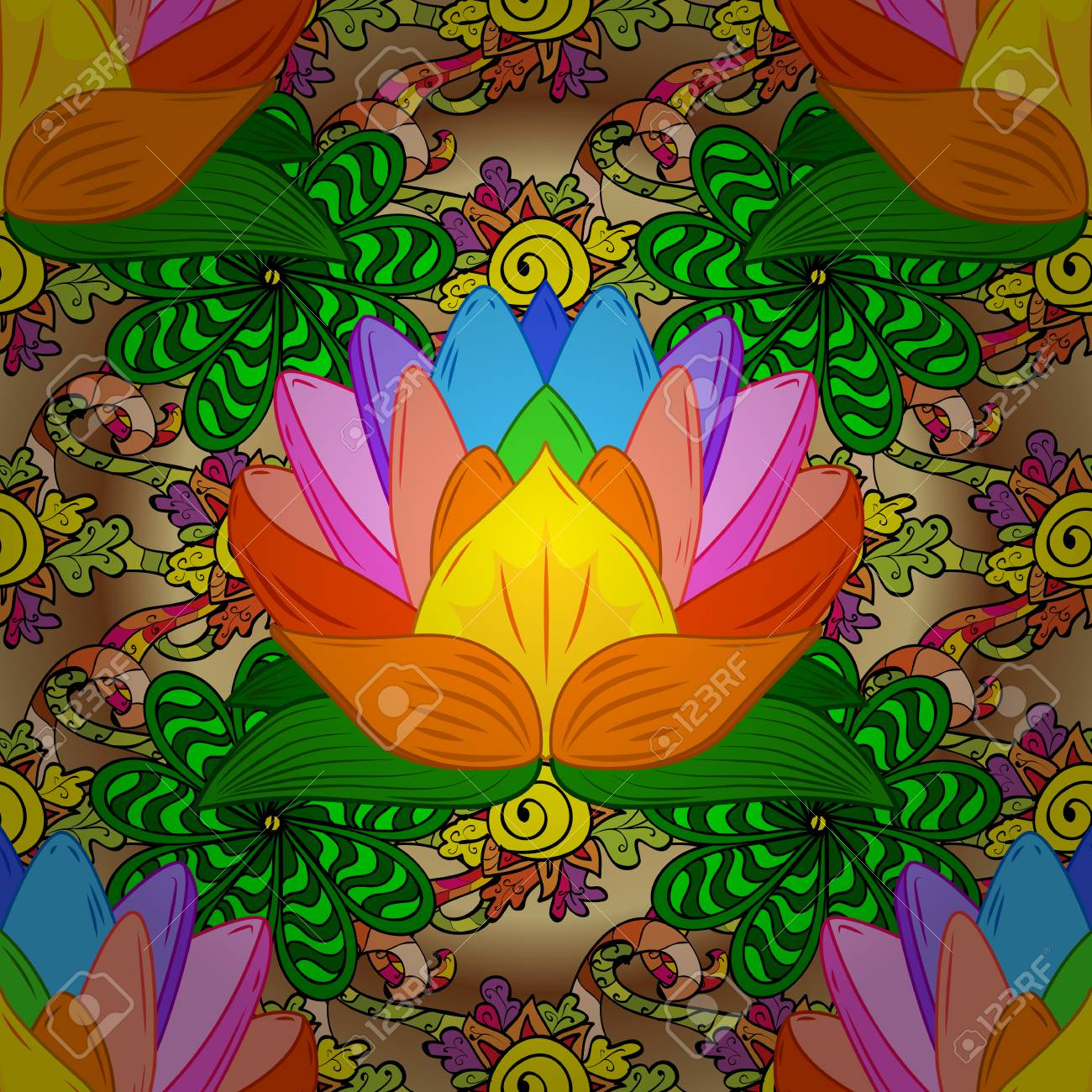 Colorful lotus flowers seamless background vector illustration colorful lotus flowers seamless background vector illustration stock vector 61490063 mightylinksfo Images