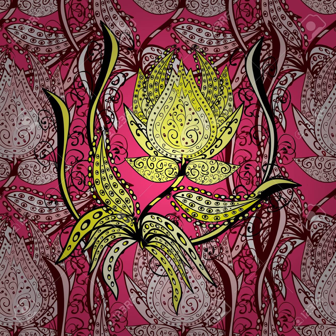 Doodle Bunte Pastell Blumen Hand Nahtlose Muster Zeichnen
