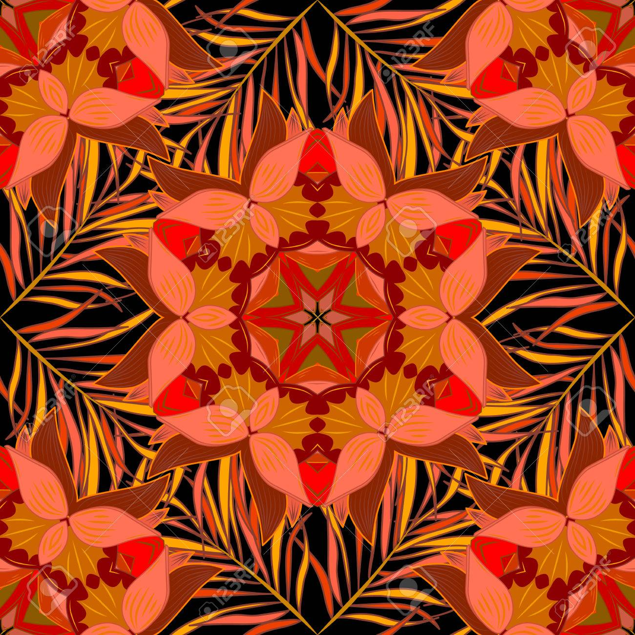 Colorful seamless pattern with flowers and round patterns in intense tropical shades - pink, black, yellow and orange - 62899074