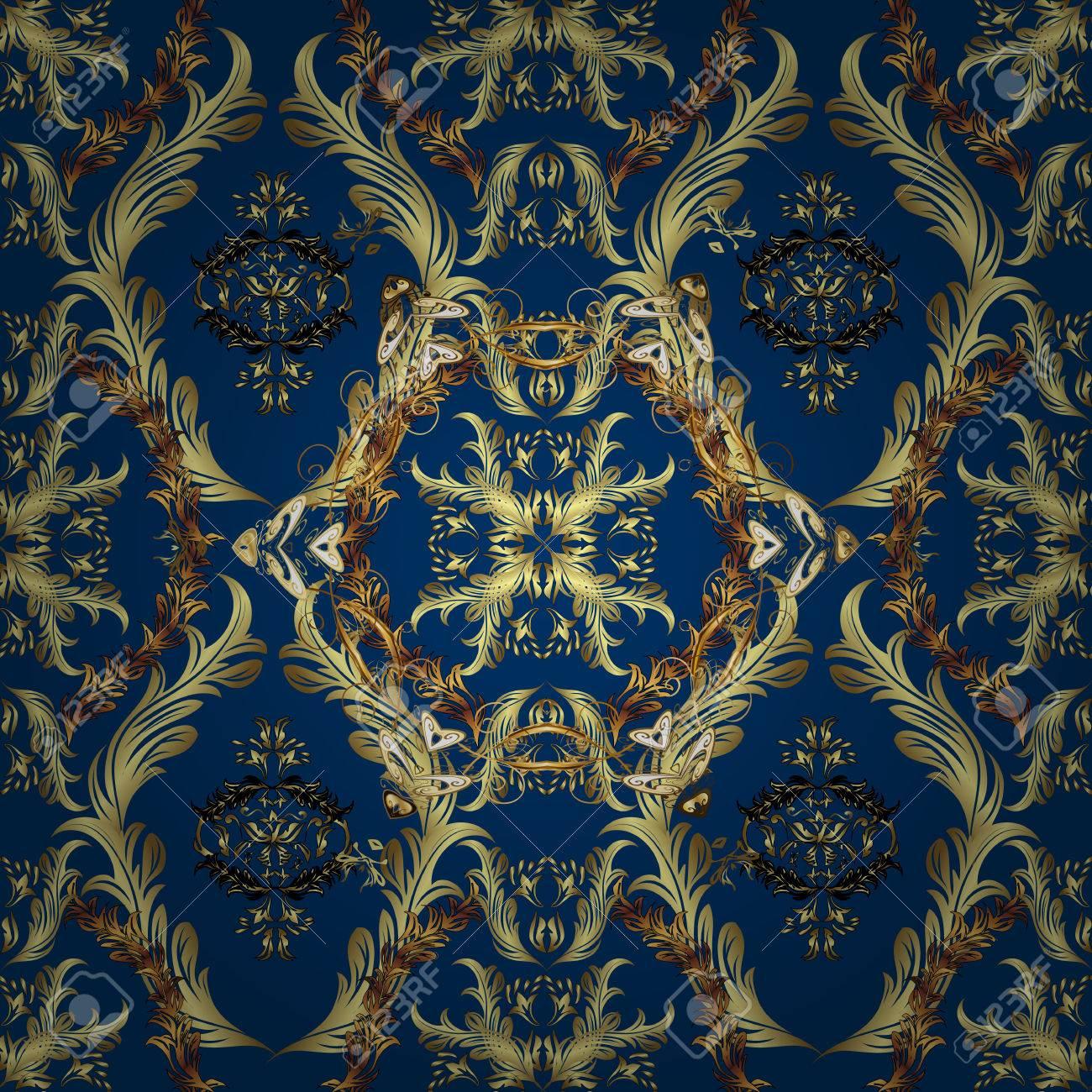 Papier Peint Bleu Et Or.Papier Peint Ornemental Sans Soudure De Luxe Or Sur Bleu Fonce