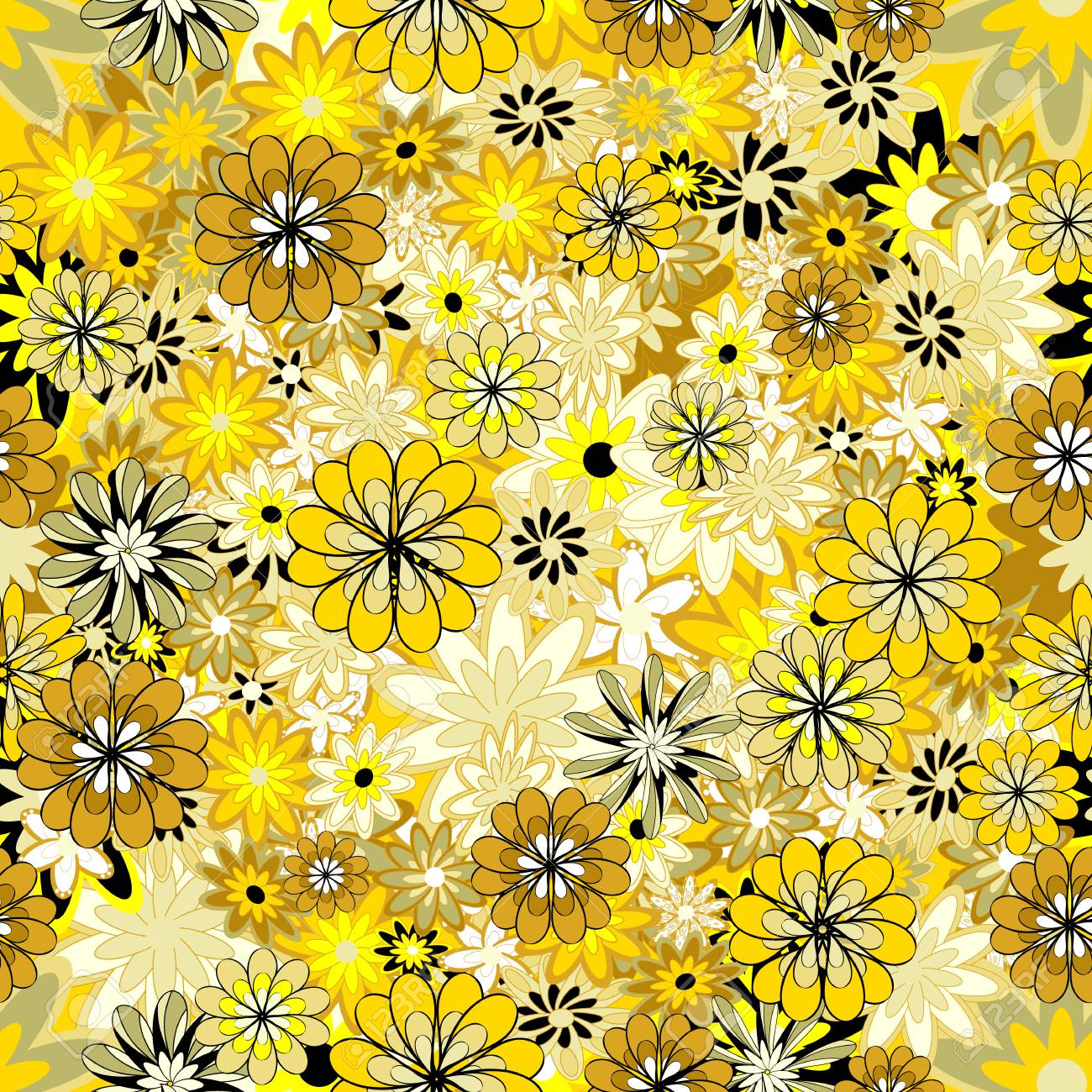 Seamless Floral Pattern Light Yellow Flowers On A Yellow Background