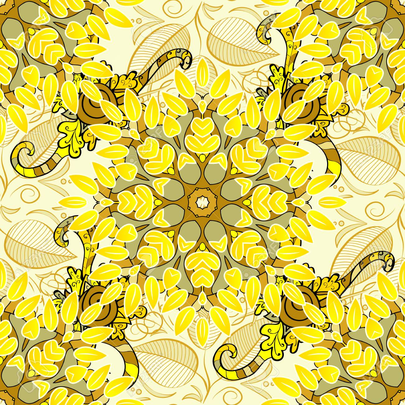 Seamless Floral Pattern Light Yellow Flowers And Doodles On