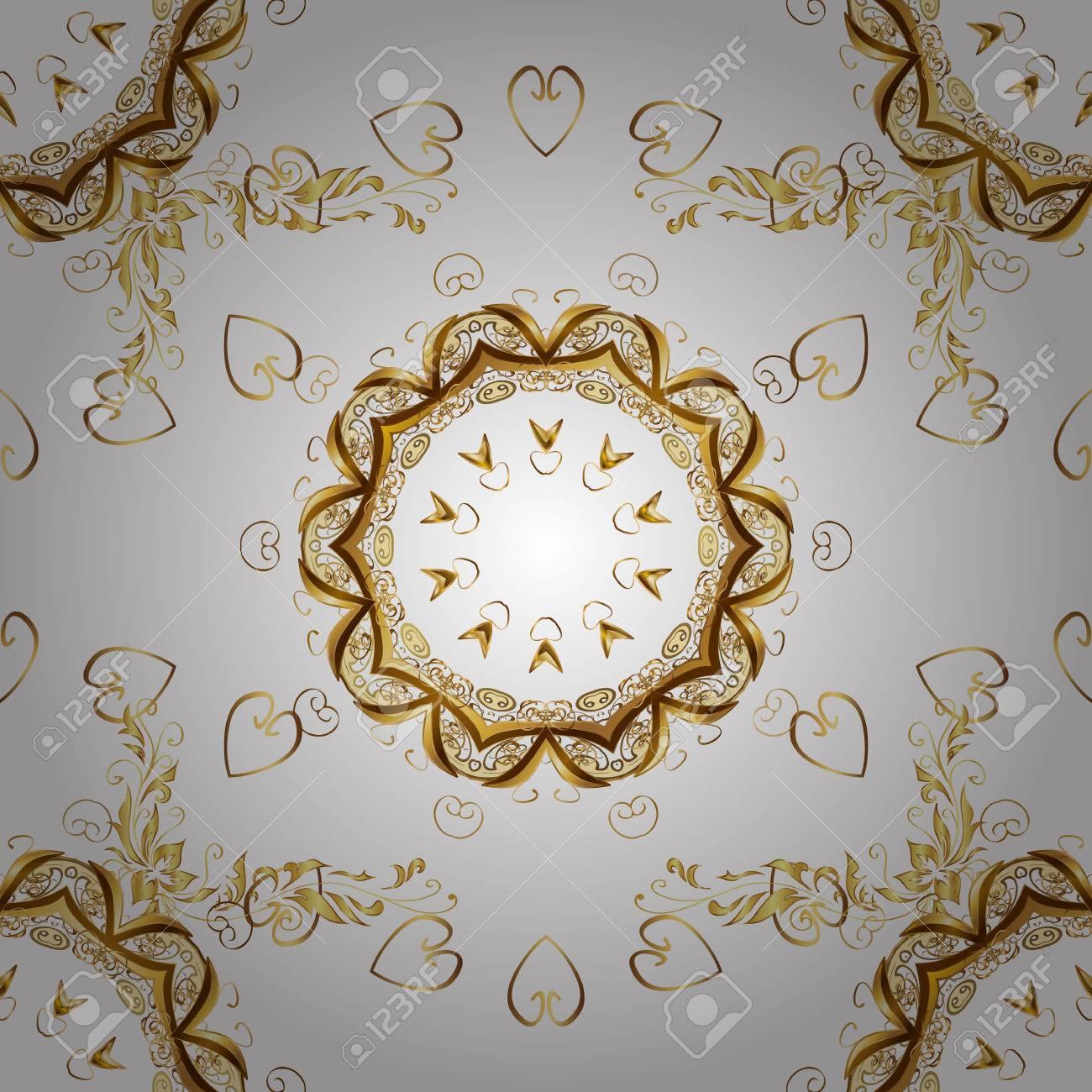 Goldene Weiss Jahrgang Nahtlose Muster Goldkonigliche Klassische