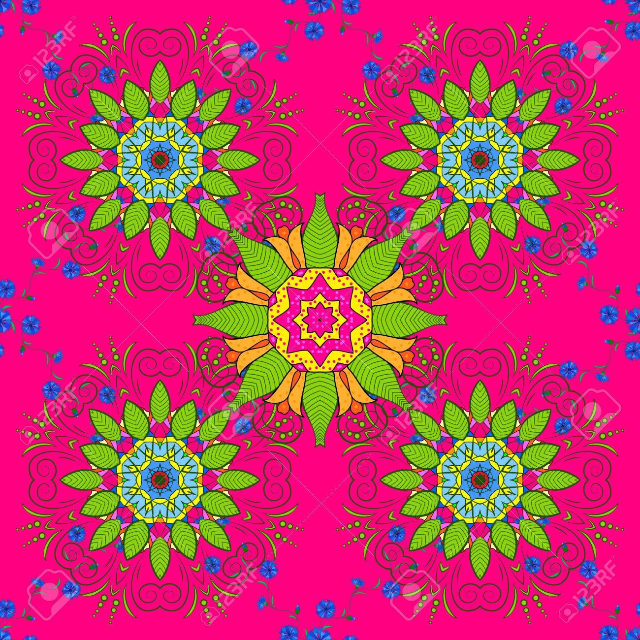 Raster Boho Chic Flower Seamless Pattern Elegant Floral Background