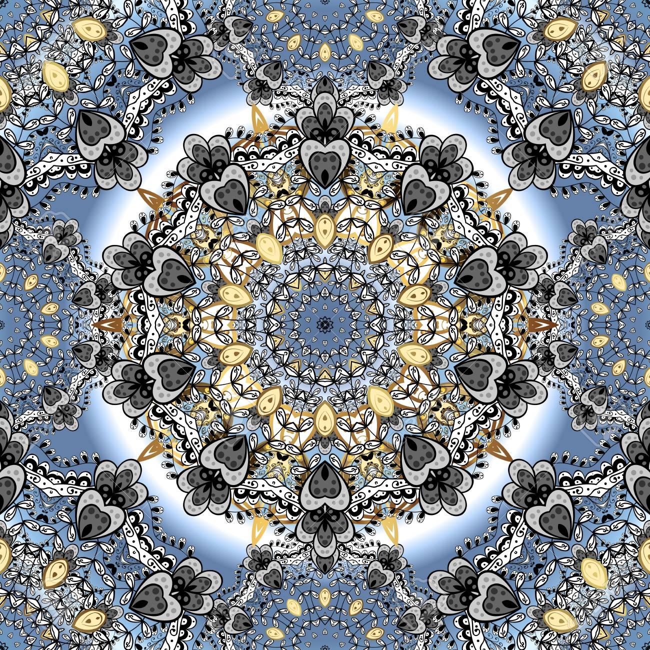 Azul Con Mandalas Dibujados A Mano Blanco Elementos Indios Del - Mandalas-indios