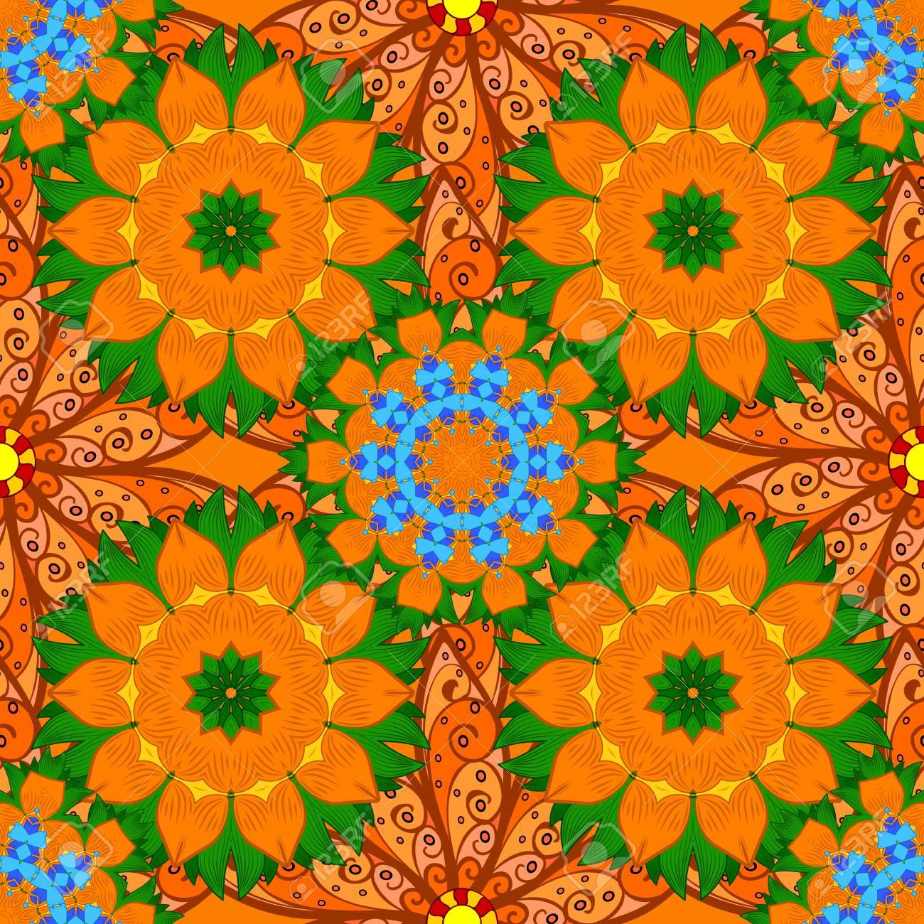 Ethnic Ornament Mandala Floral Patterns Background. Seamless ...