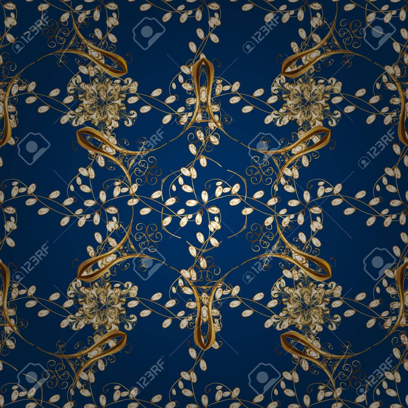 Seamless Vintage Pattern On Dark Blue Background With Golden ...