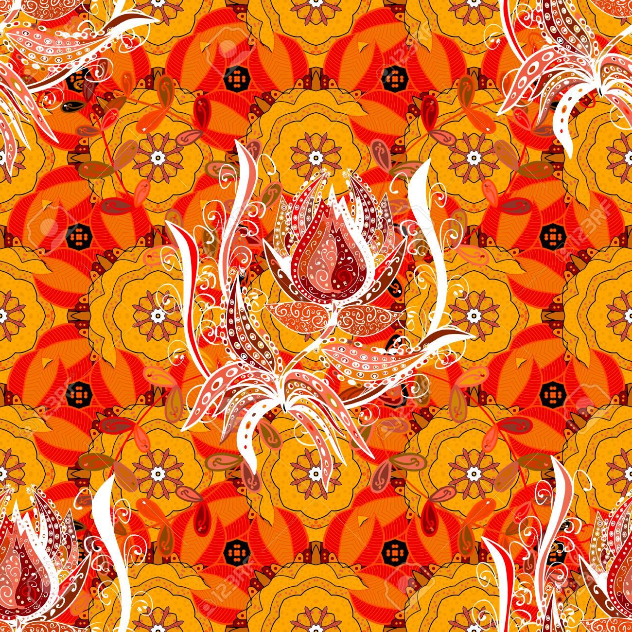 Modèle Sans Couture Créatif Dessiné à La Main Composé De Fleurs Stylisées Aux Couleurs De Corail Et De Pêche Illustration Vectorielle