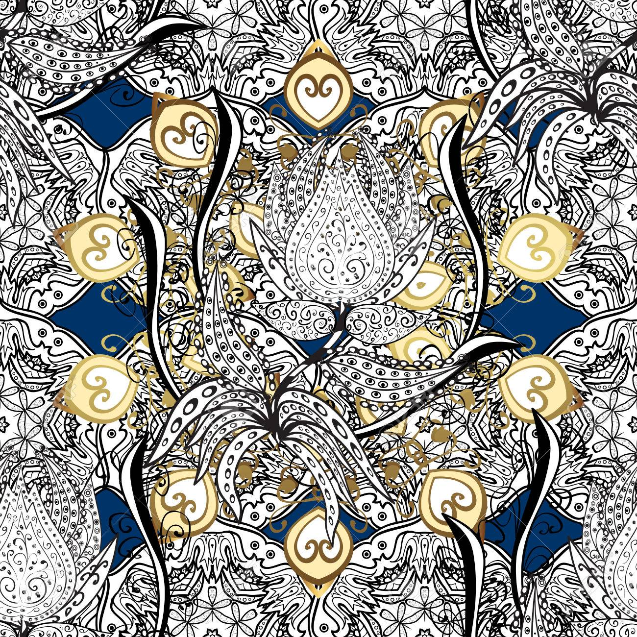 Dark Blue Royal Baroque Damask Seamless Pattern Background Wallpaper Illustration With Decorative Vintage Black Gold