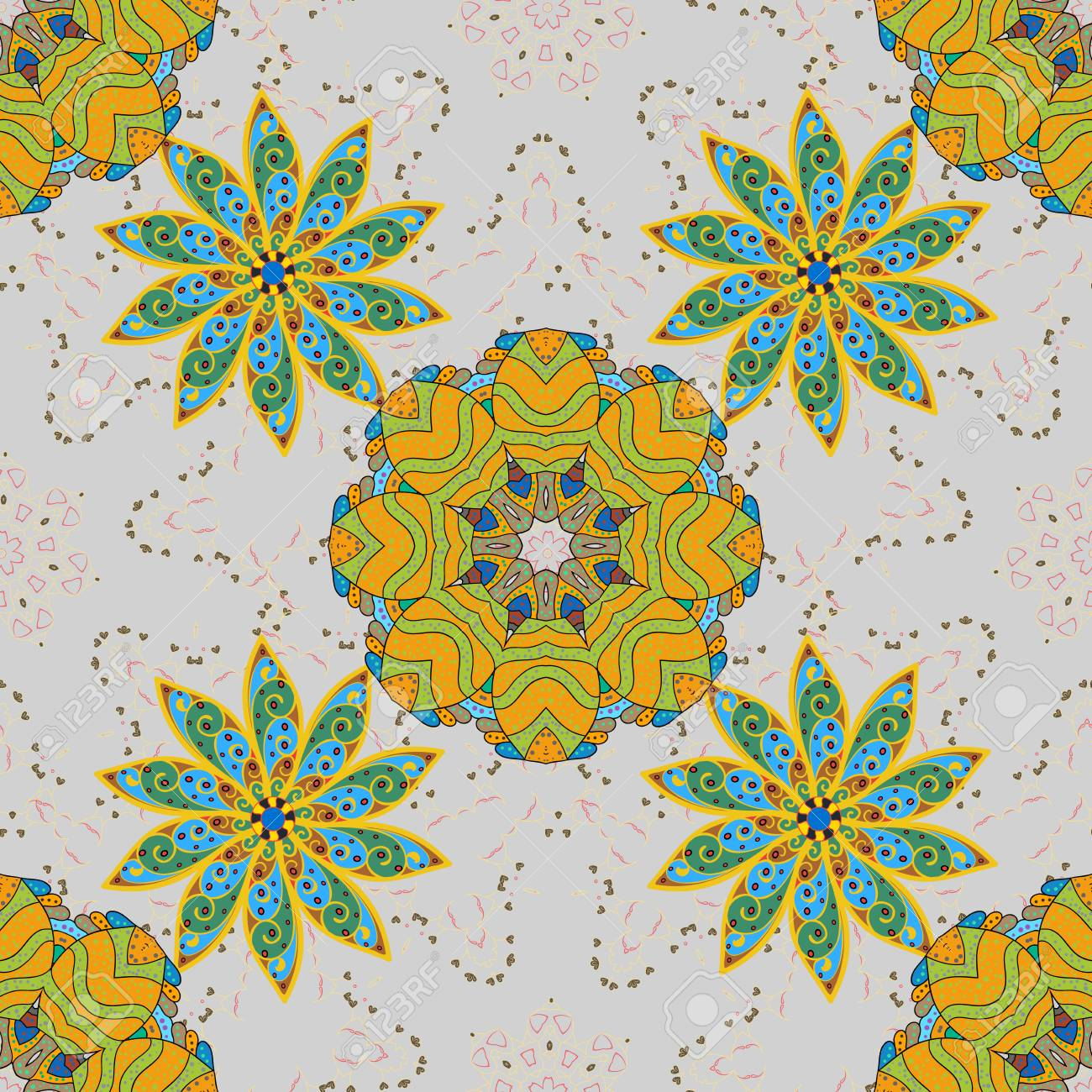 Abstract Seamless Floral Pattern With Green And Yellow Flowers