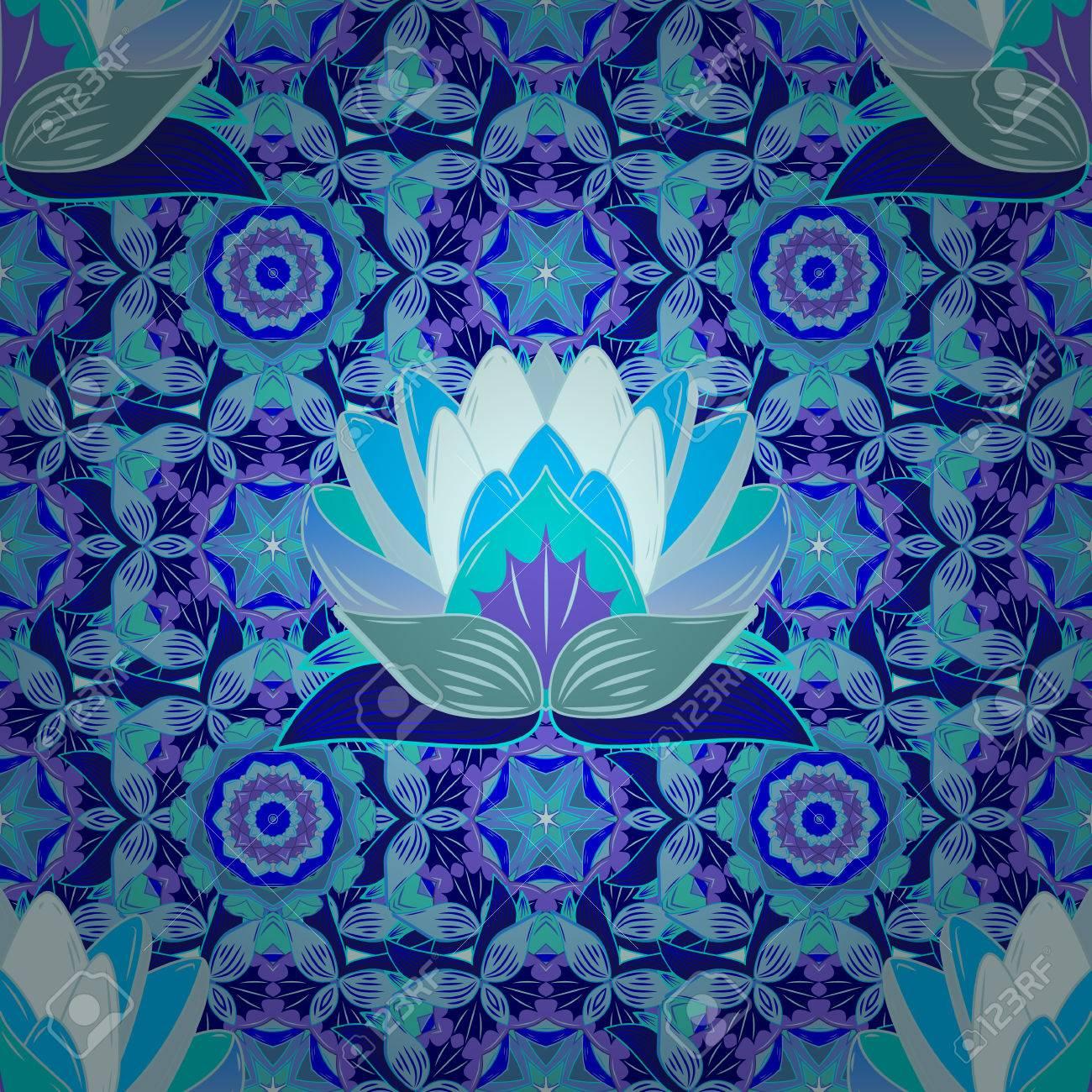 Raster Seamless Continuous Wallpaper Tile Lotus Flower Design