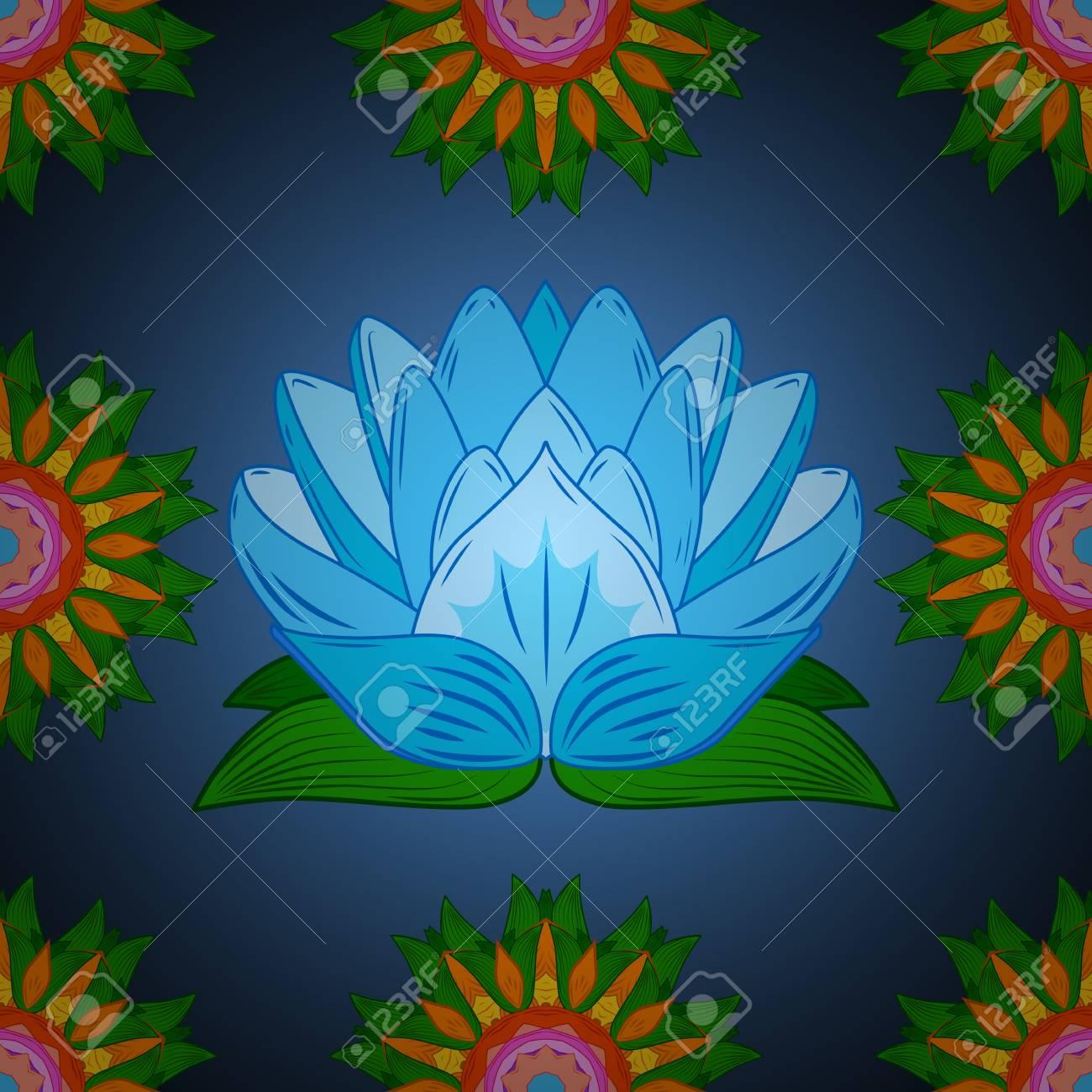 Vector Seamless Continuous Wallpaper Tile Lotus Flower Design