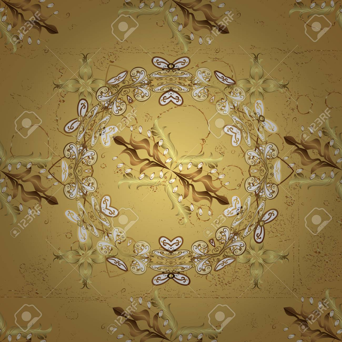 Golden Element On Yellow Background Gold Wallpaper Texture BackgroundDamask Pattern Repeating