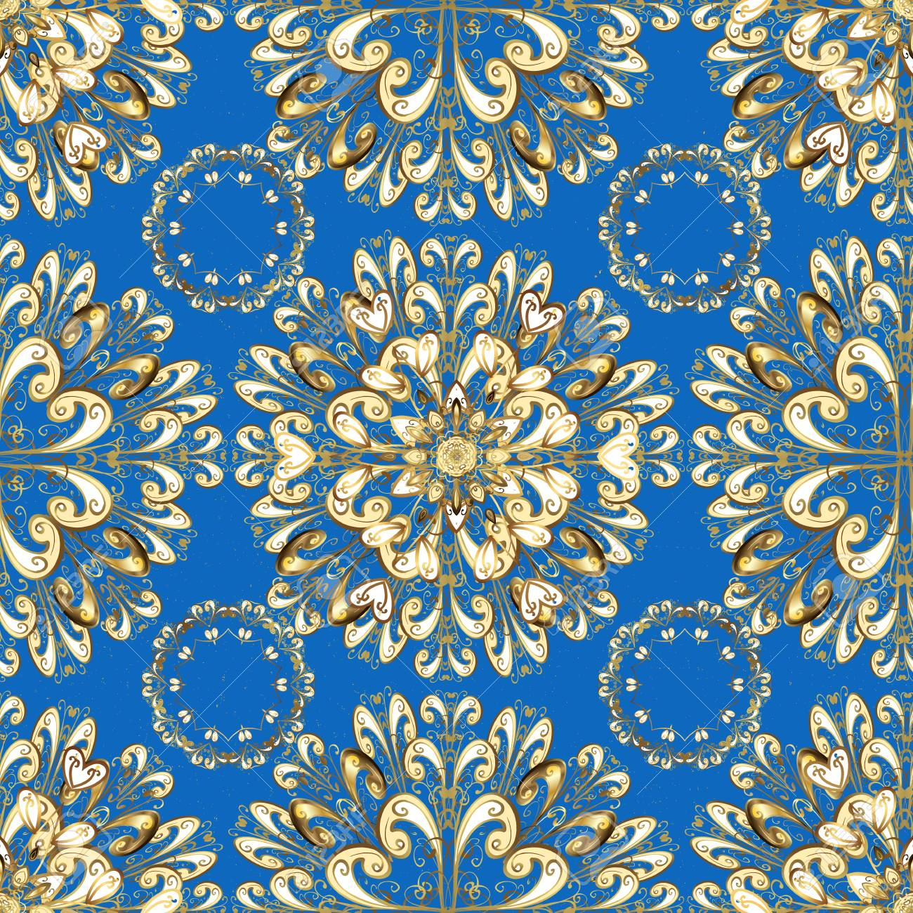Blue On Background Royal Luxury Golden Baroque Damask Vintage Vector Pattern Wallpaper With