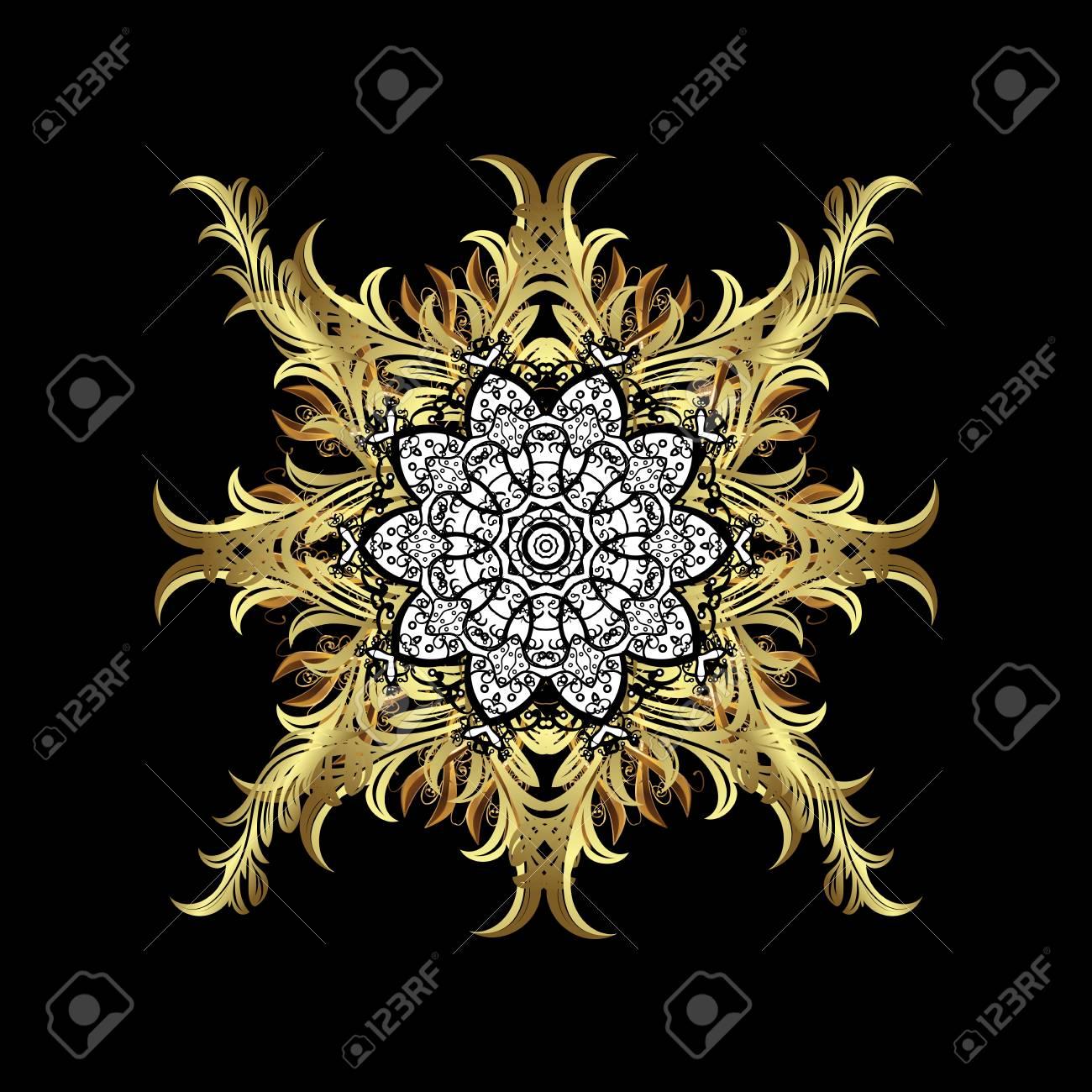 Pattern On Black Background With Golden Elements Golden Mehndi