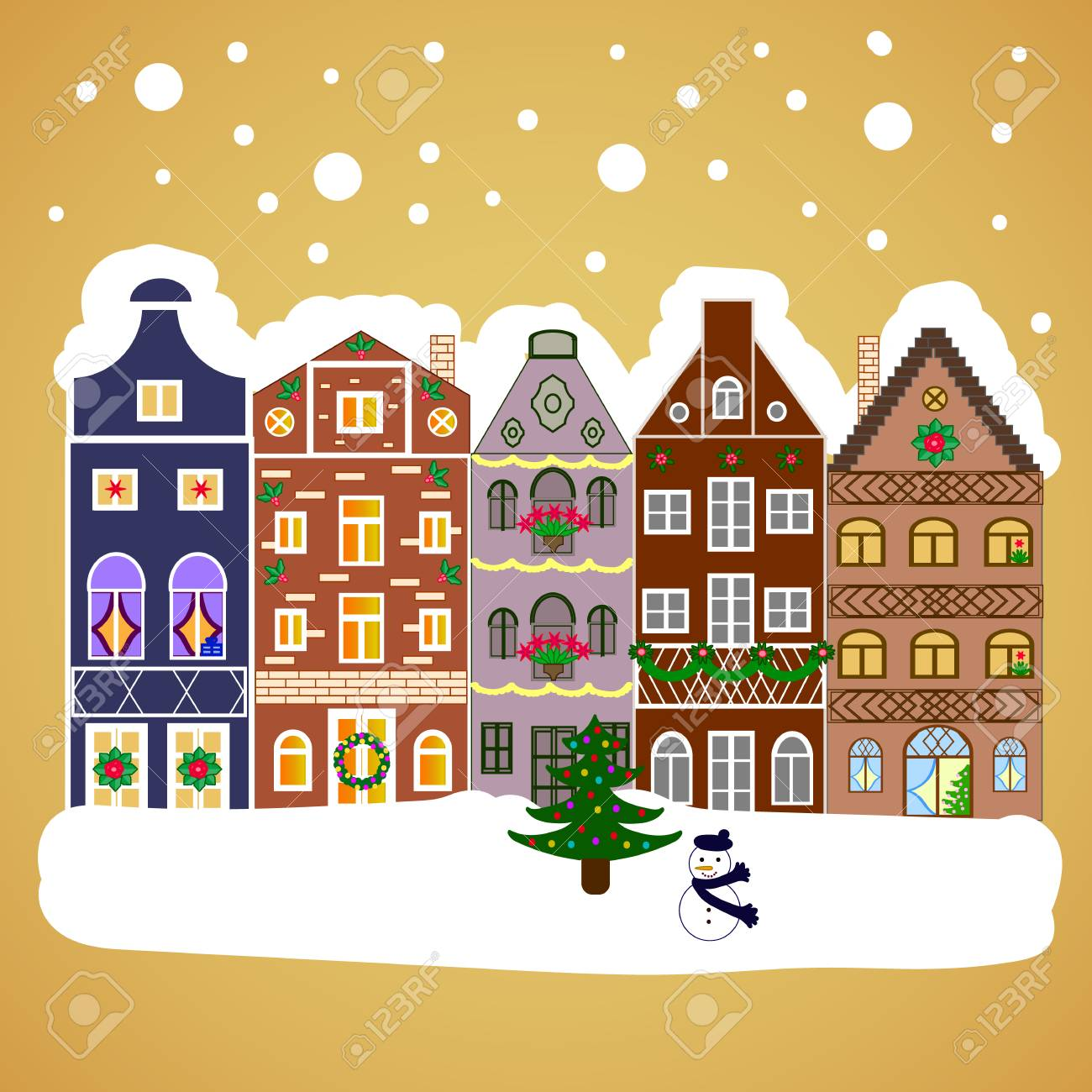 stock photo winter houses road tree new year holidays greeting card poster design winter nature landscape cute town christmas eve