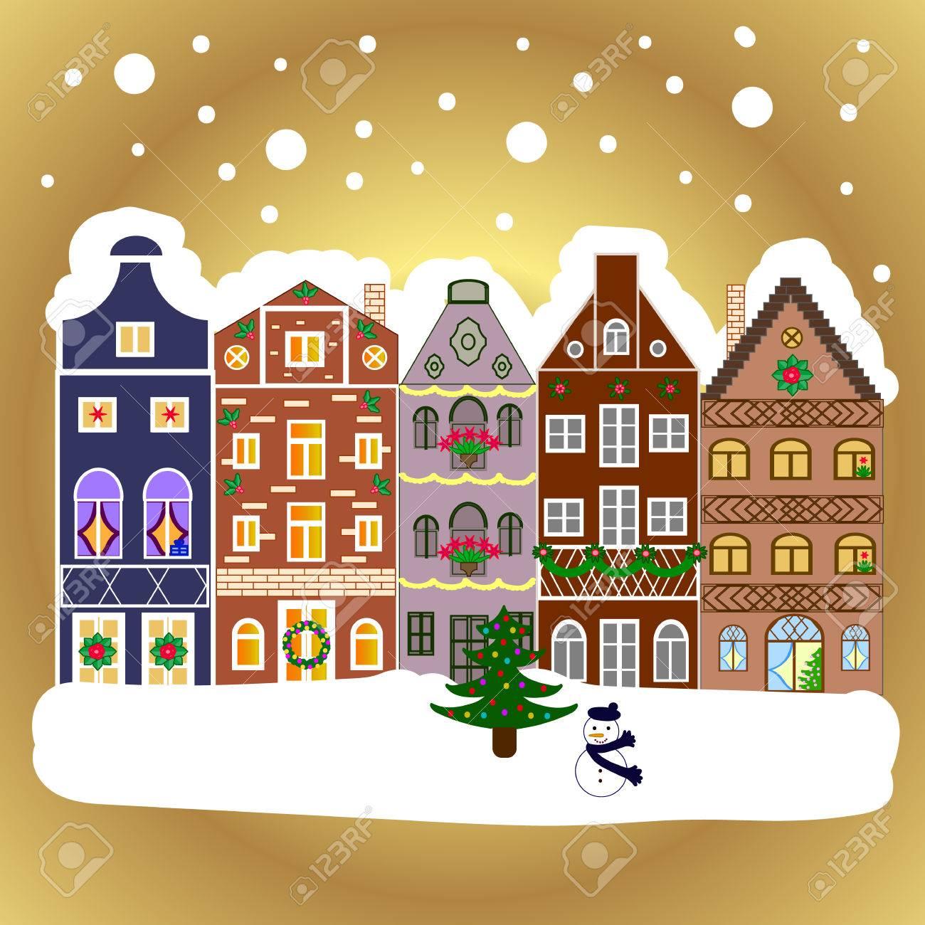 Christmas house with snow art - Evening Village Winter Landscape With Snow Cove Houses Christmas Winter Scene