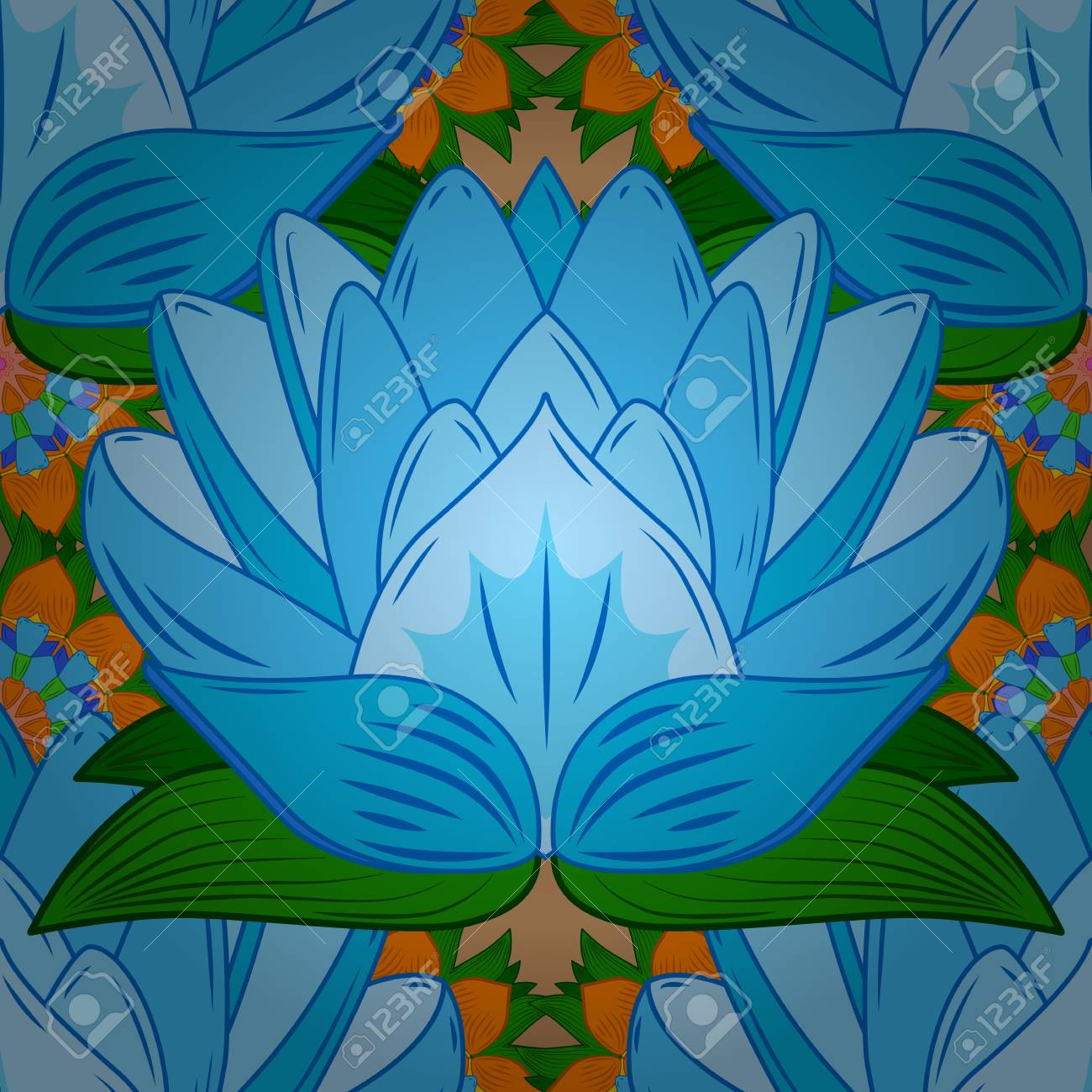 Raster seamless continuous sketch tile lotus flower design created raster seamless continuous sketch tile lotus flower design created in blue tones radial gradient mightylinksfo