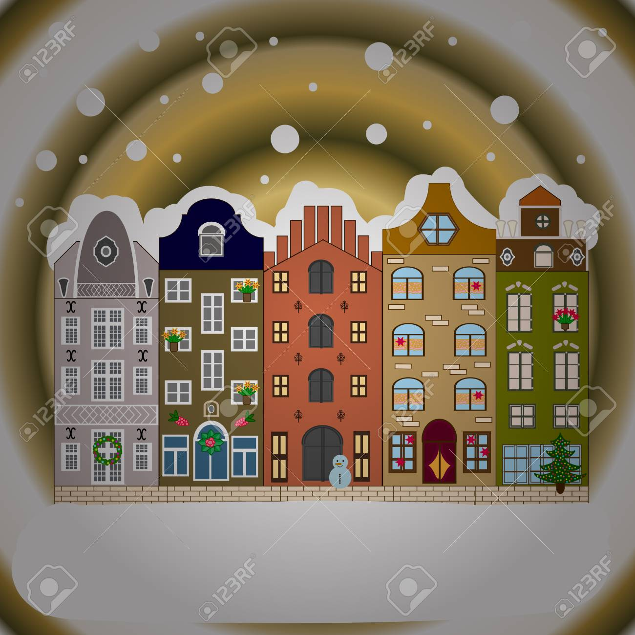 Cityscape cute town christmas eve new year holidays greeting cityscape cute town christmas eve new year holidays greeting card poster design kristyandbryce Gallery