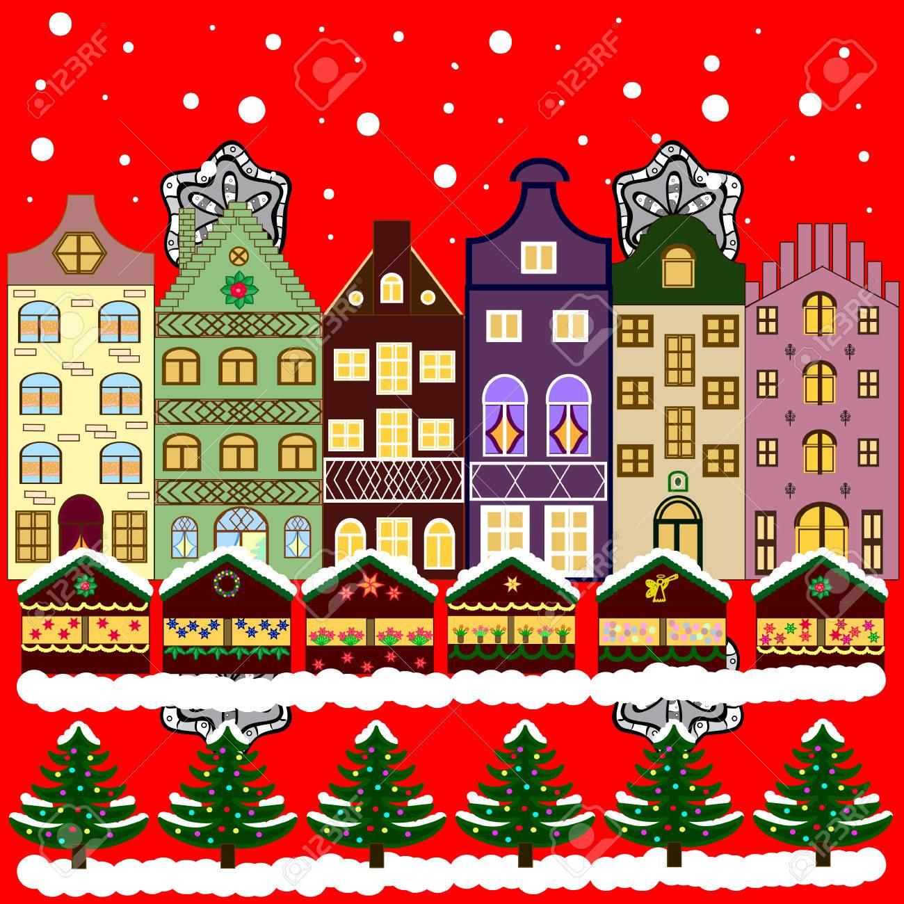 Foto Carine Di Natale.Citta Carina Vigilia Di Natale Paesaggio Di Natura Invernale Vettore Paesaggio Urbano Inverno In Citta Abeti Natalizi Eps 10 Biglietto Di