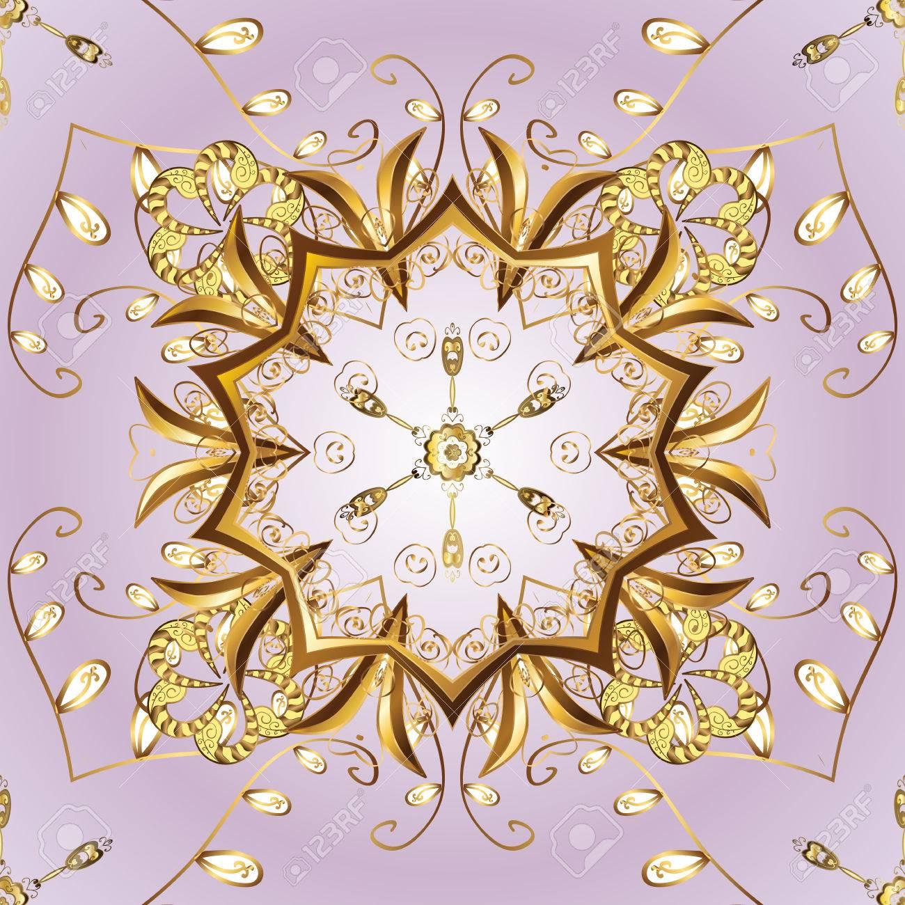 Patrón De Ornamento Simple De Oro Copo De Nieve. Esbozo Abstracto ...