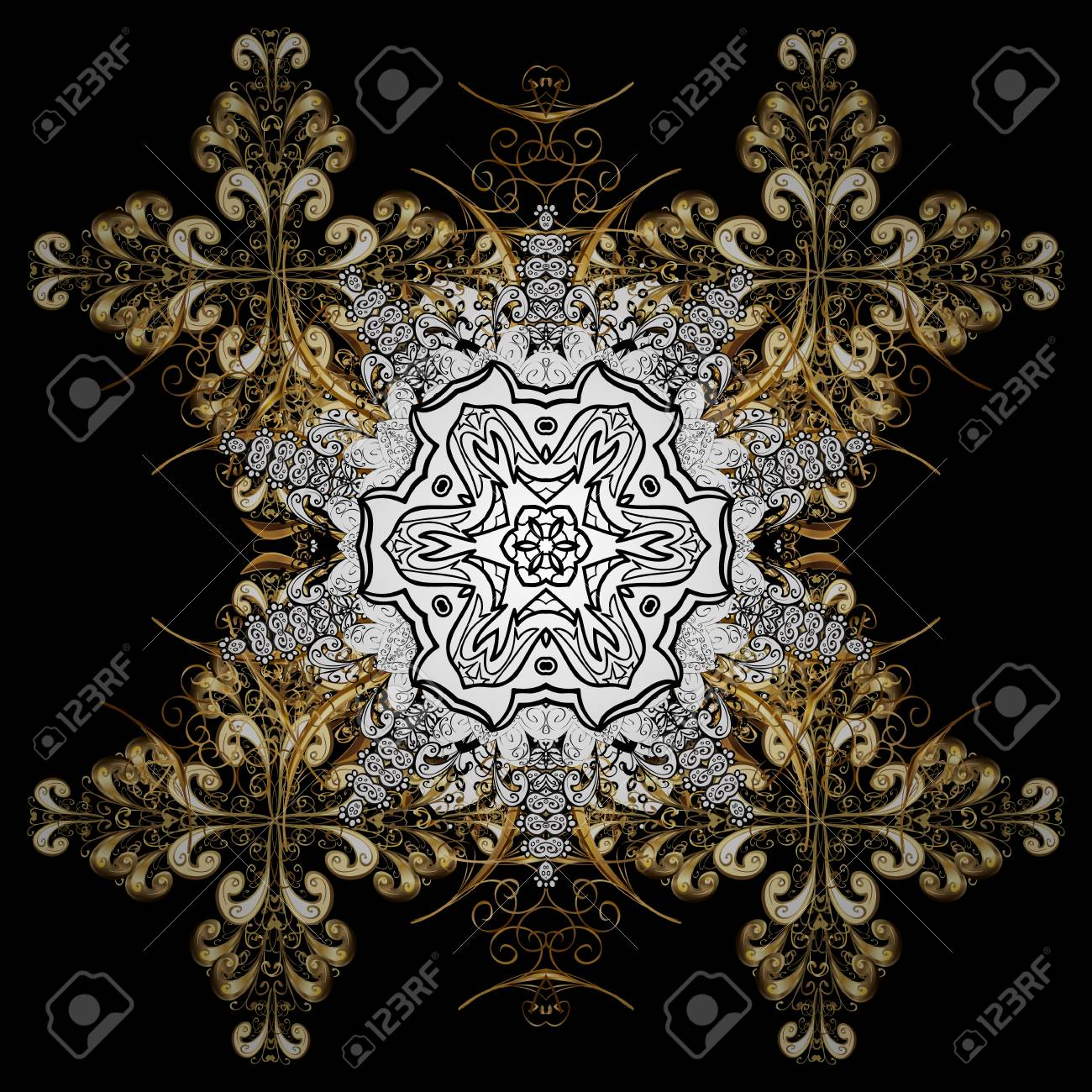 Medieval floral royal pattern decorative symmetry arabesque medieval floral royal pattern decorative symmetry arabesque gold on black background good for stopboris Choice Image