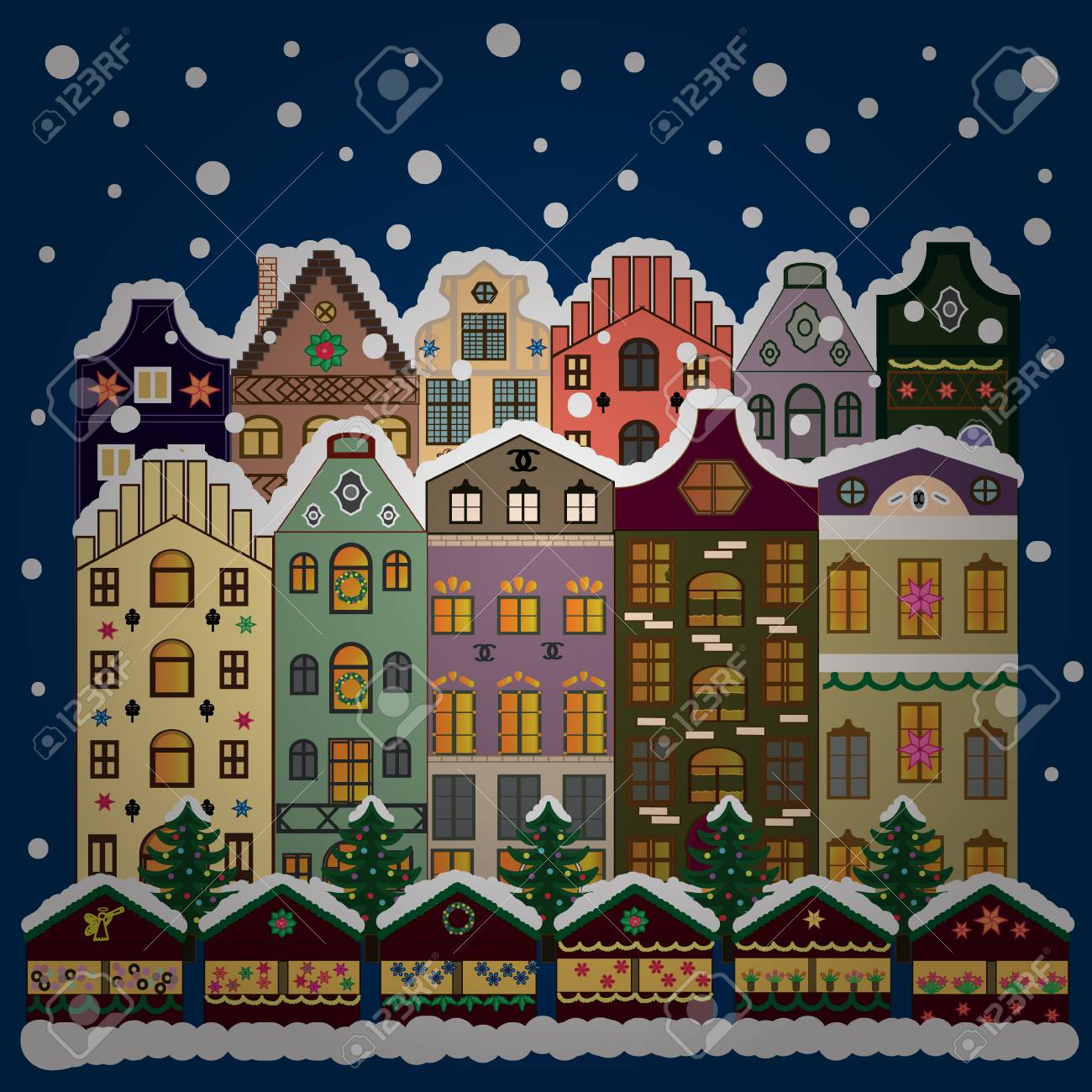 vector illustration eps 10 winter city with blue trees cute