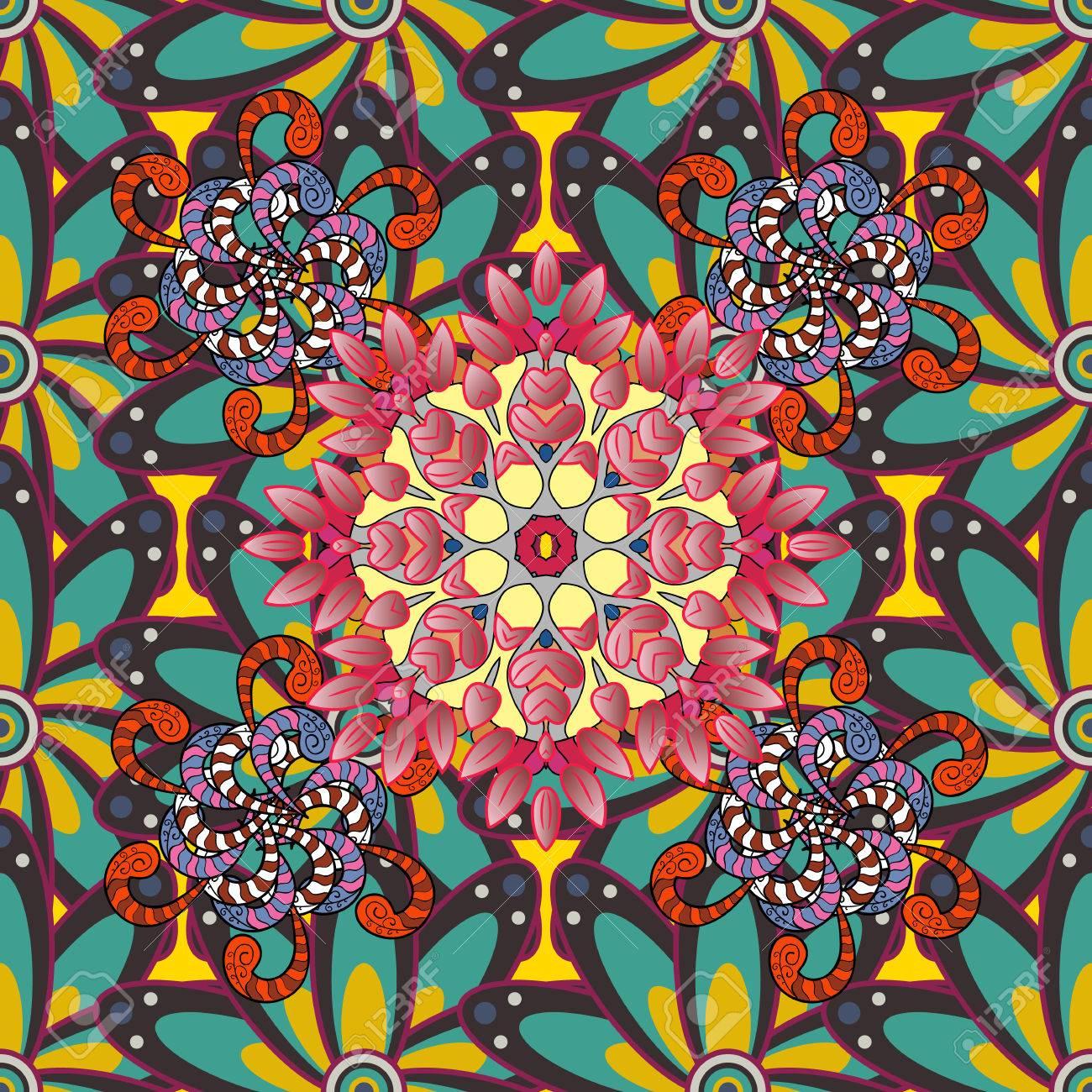 tribal art boho druck vintage blume hintergrund hintergrund textur skizze blumen thema in farben zusammenfassung ethnischen vektor nahtlose muster - Boho Muster
