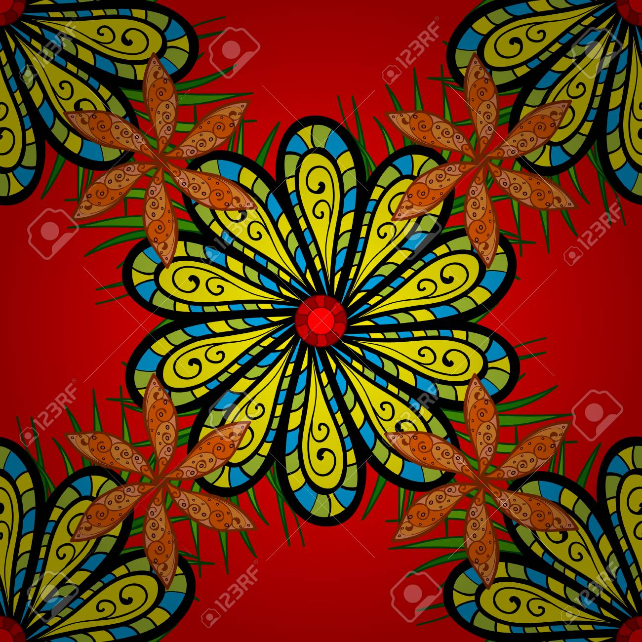 Mandala Flower Coloring Book For Adults Vector Illustration ...