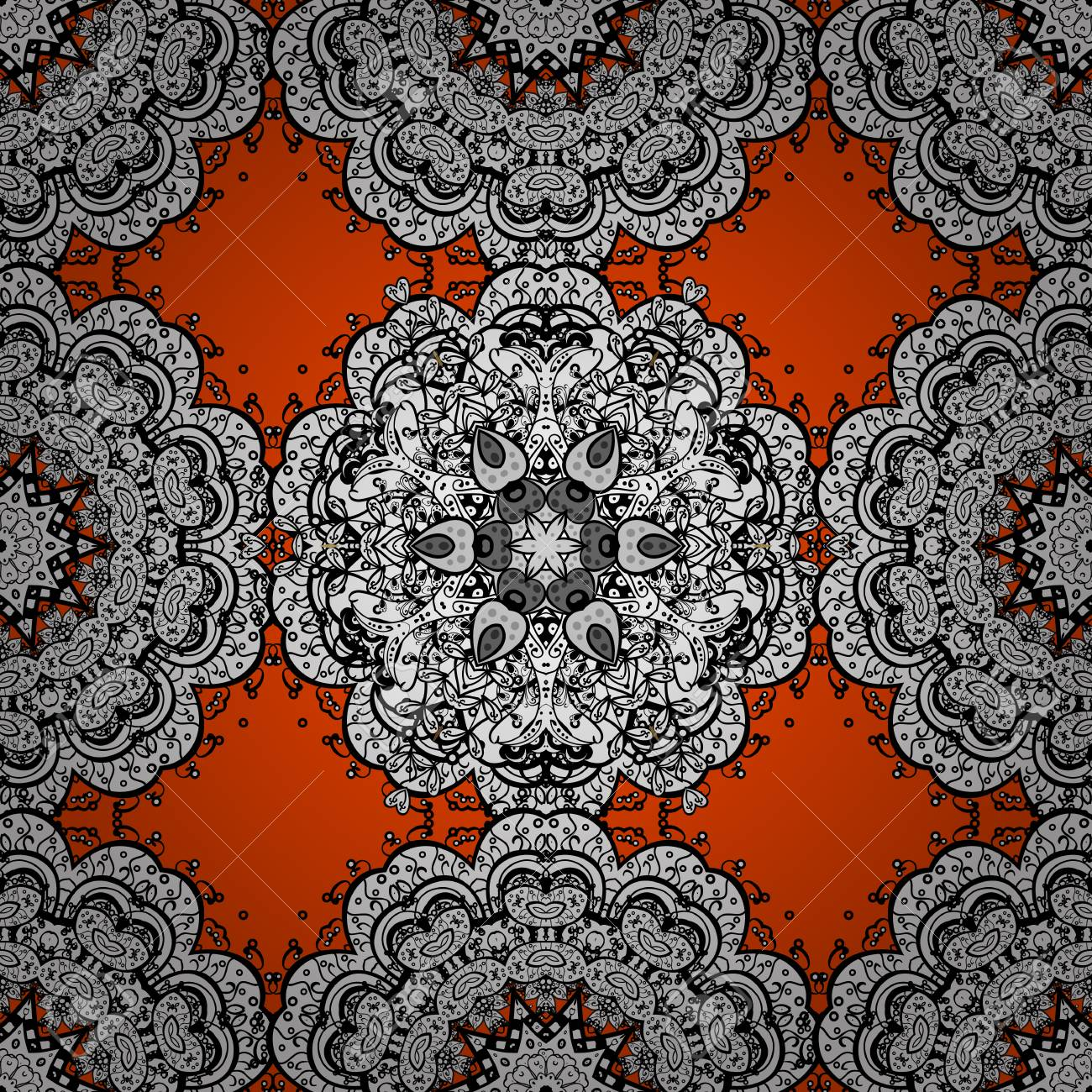 Vector illustration white on orange background seamless medieval seamless medieval floral royal pattern decorative symmetry arabesque good for greeting card for birthday invitation or banner vector illustration stopboris Choice Image