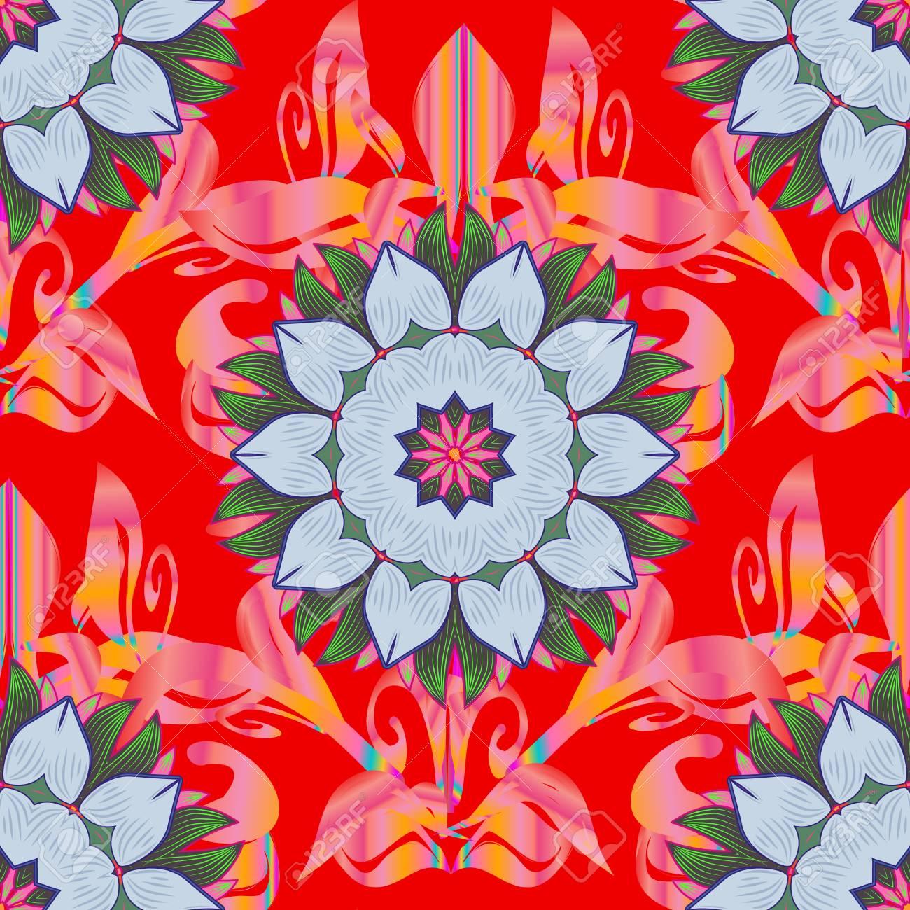 Pintura De La Mano De La Acuarela De Flores Azules Y Rosadas
