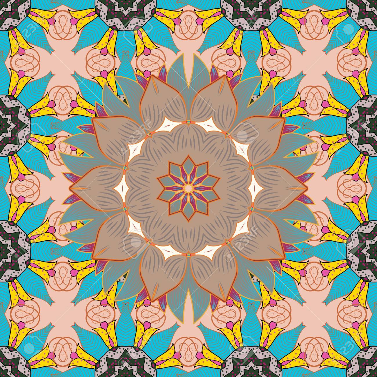 Diseño Para El Juego La Cubierta La Tarjeta Vector Geometría Sagrada Ronda Símbolo Coloreado Con Estrellas Brillantes Sobre Un Fondo Colorido