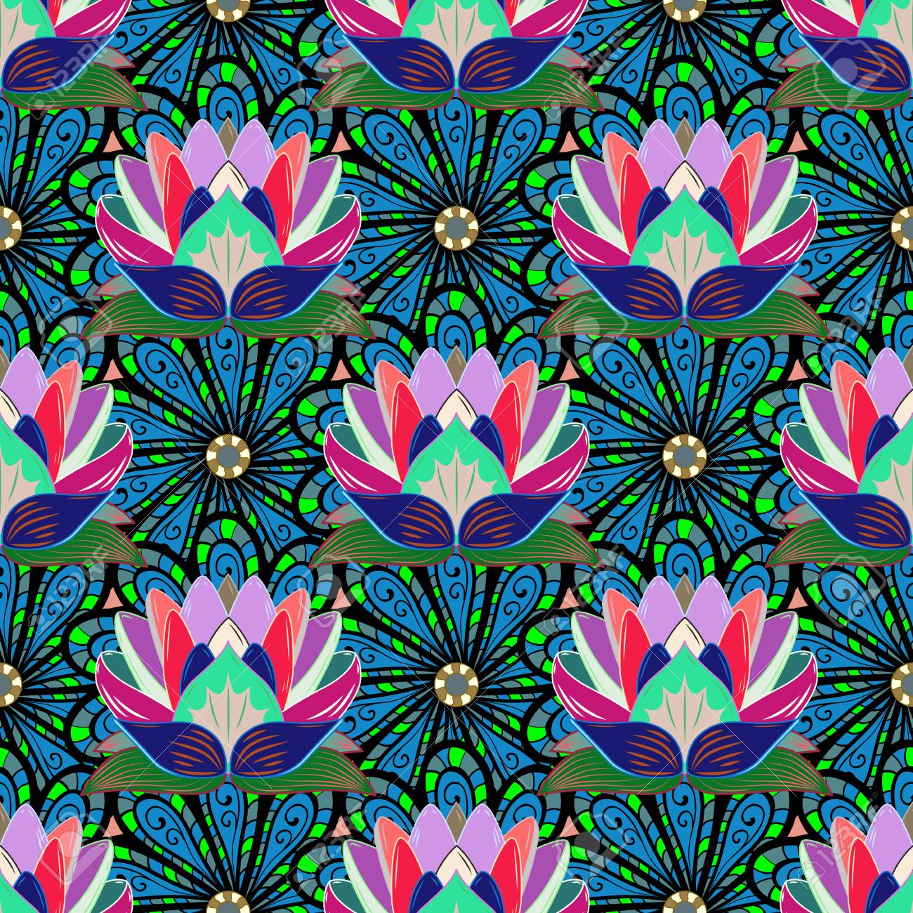 Pretty Floral Print With Blue Small Flowers Motley Seamless