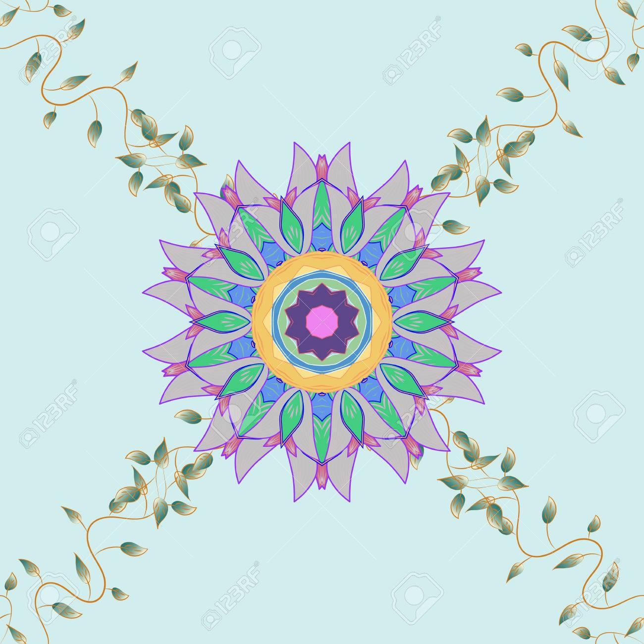 Mandala on blue background  Spiritual and ritual symbol of Islam,