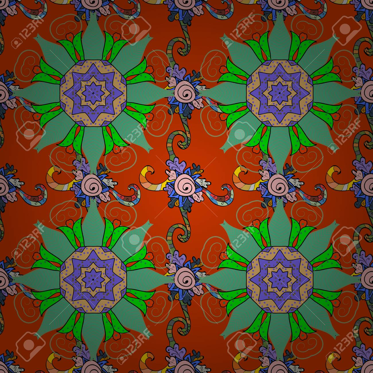 Colorfil Background. Mandala Vector Floral Flower Oriental Coloring ...