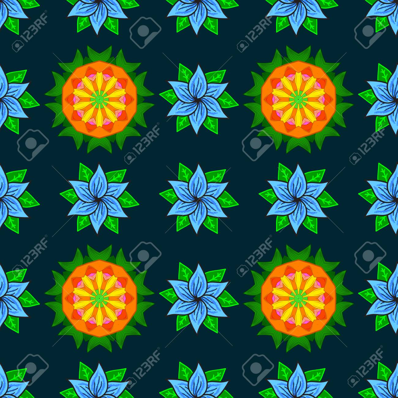 Vector Abstract Flower Background Pretty Floral Print With Blue