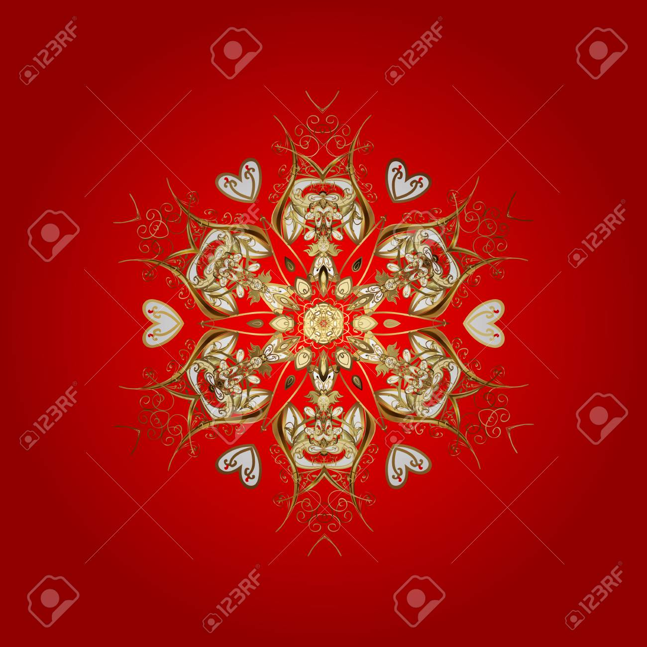 Design. Stock vector illustration falling snow. Golden snowflakes, snowfall, stylized snow on red background. - 80572412