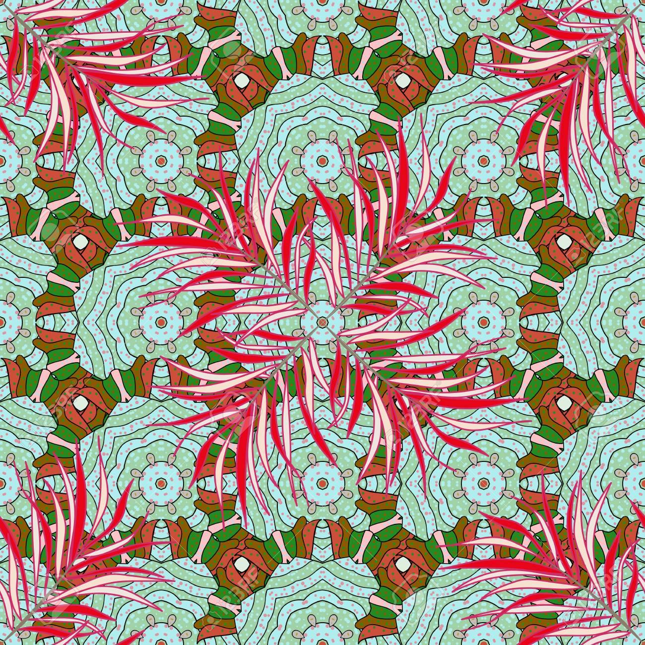 花のベクトル イラストカラフルな背景に花模様のシームレスなパターン