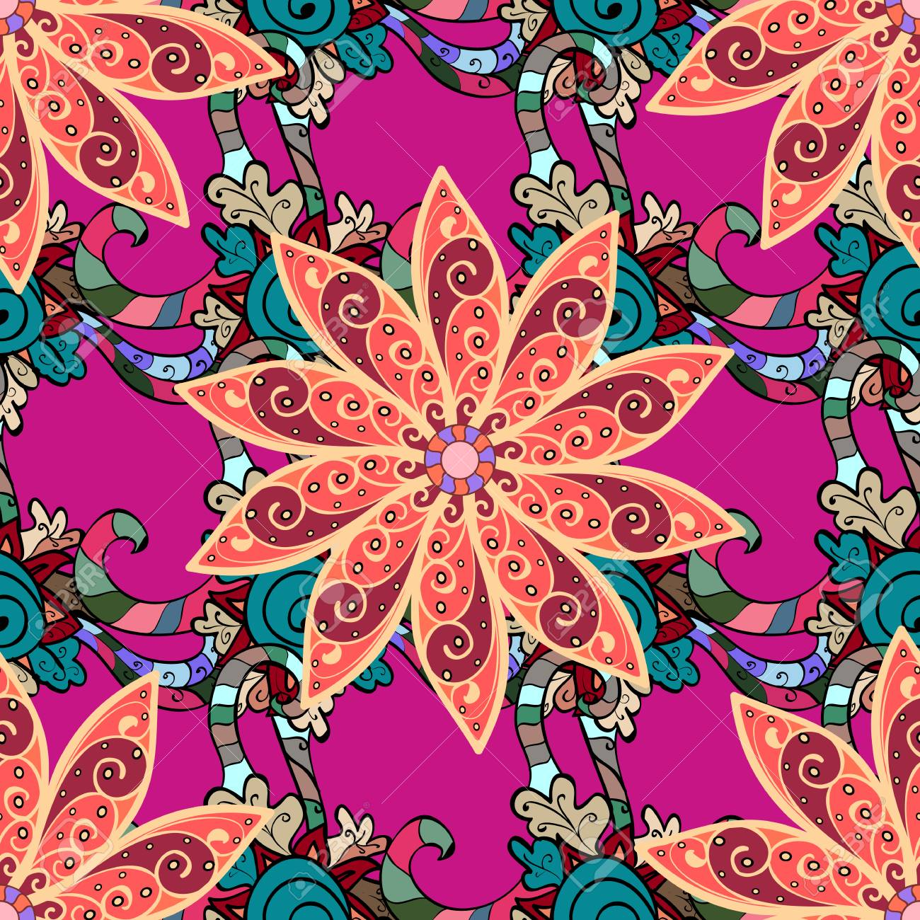 Vector Abstract Flower Background Pretty Floral Print With Pink