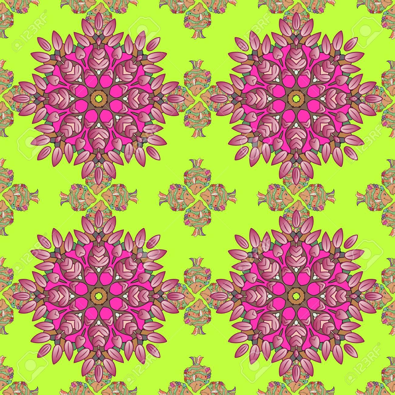 Un Dibujo Vectorial De Muchas Flores Abstractas En Colores Mano