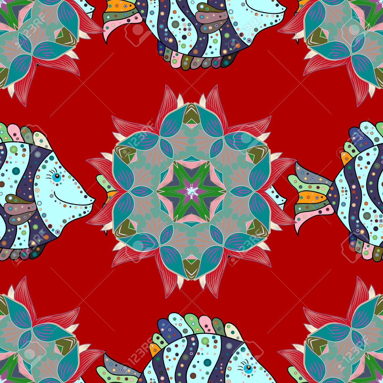 Vector Illustration. Denim With Colorful Floral Pattern. Hand ...