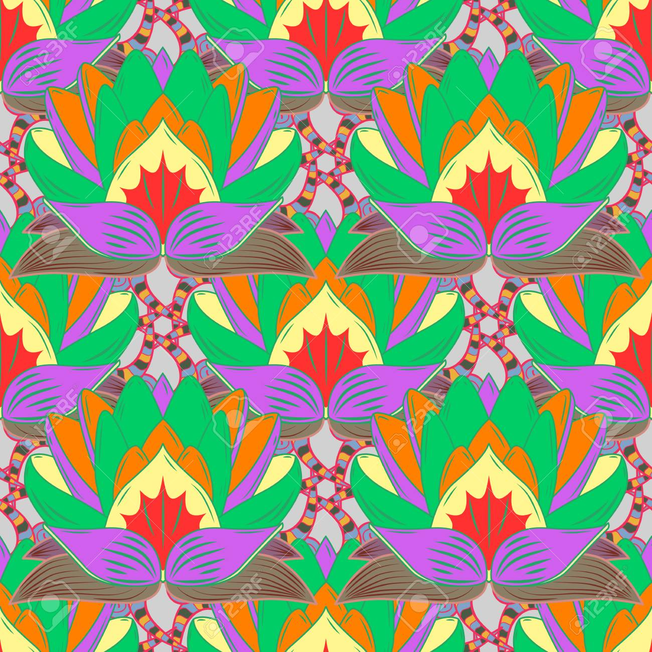 Print. Colour Summer Theme Seamless Pattern Background. Cute ...