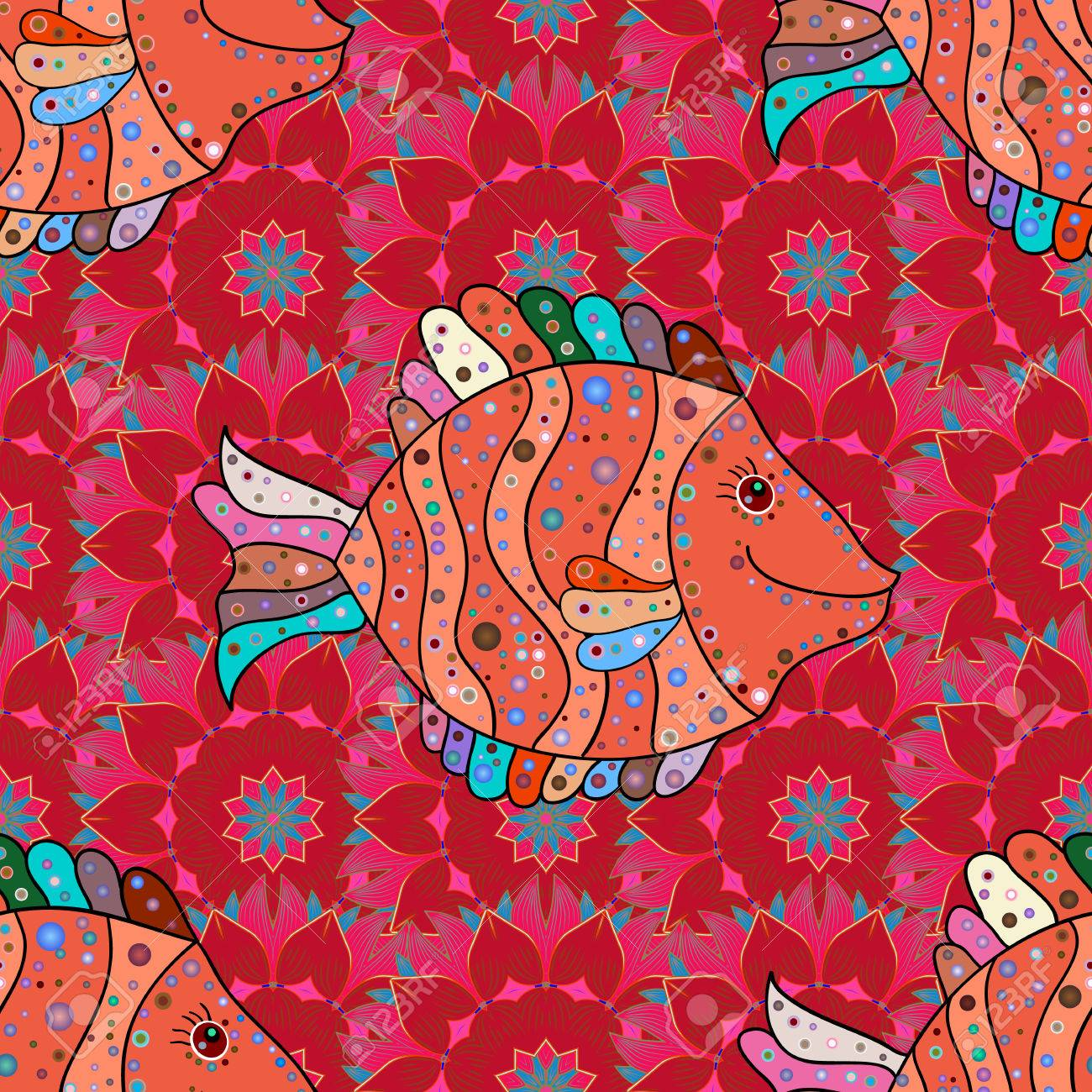 Sea Fishes On Colored Background. Vector Marine Seamless Pattern ...