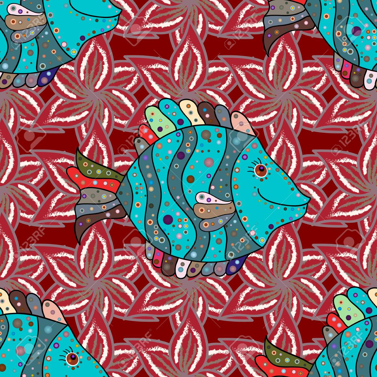 Reaver Fishes On Colored Background. Exotic Fish. Seamless Pattern ...