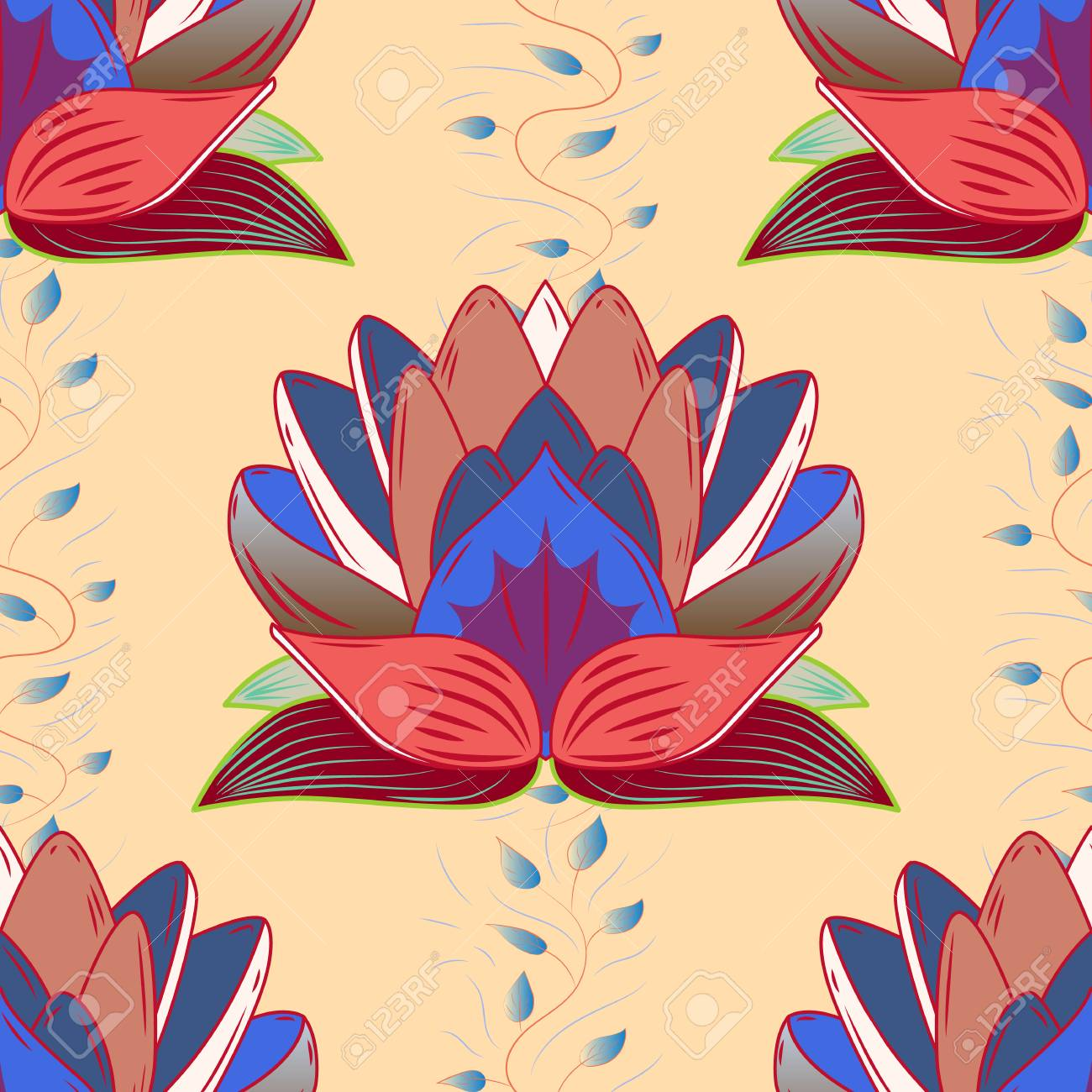 Exelent Colorful Lotus Flower Elaboration - Coloring Page ...