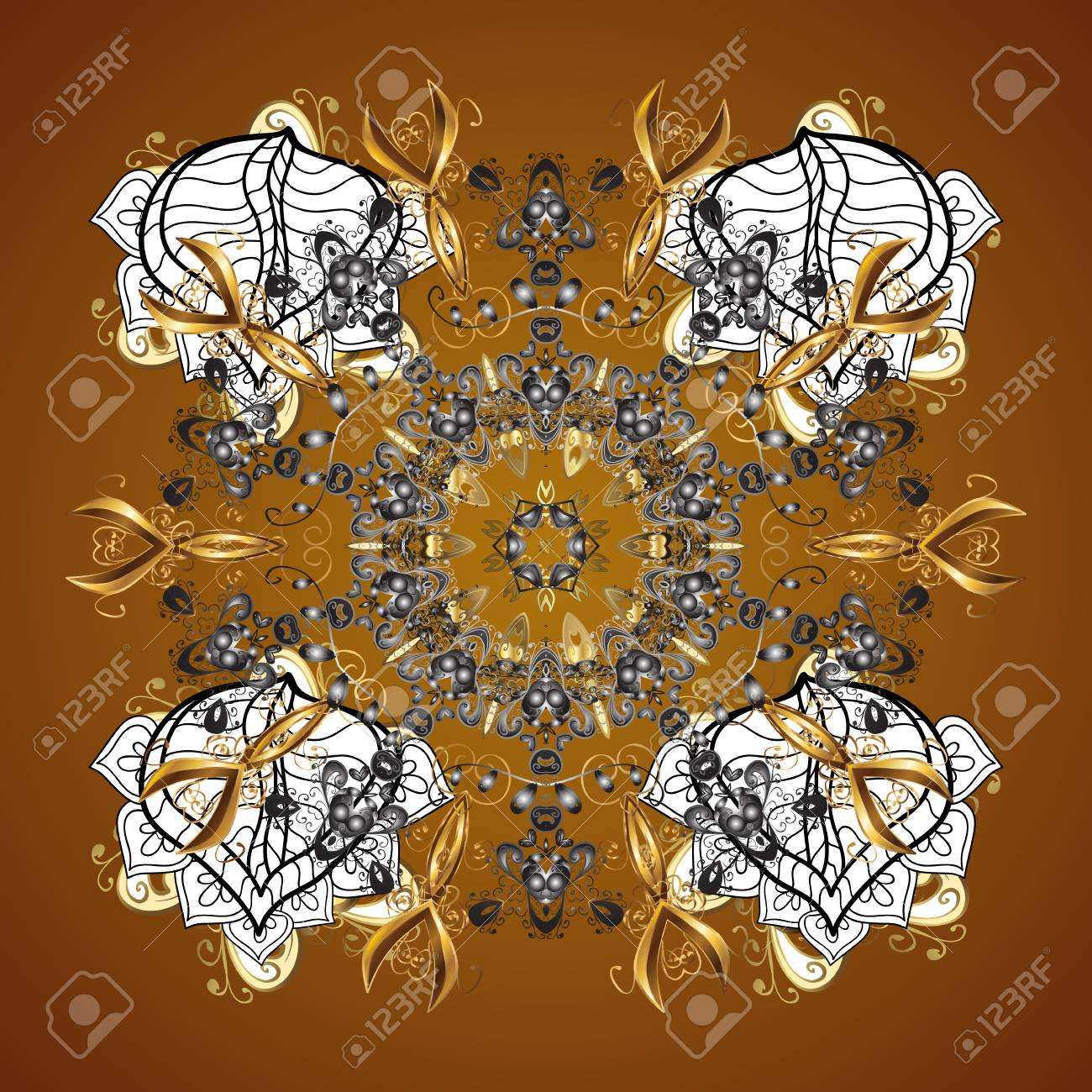 Ornamental Artistic Vector Illustration In Brown Colors For Merry ...